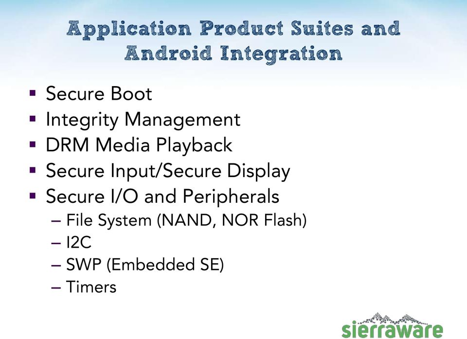 Secure Input/Secure Display Secure I/O and