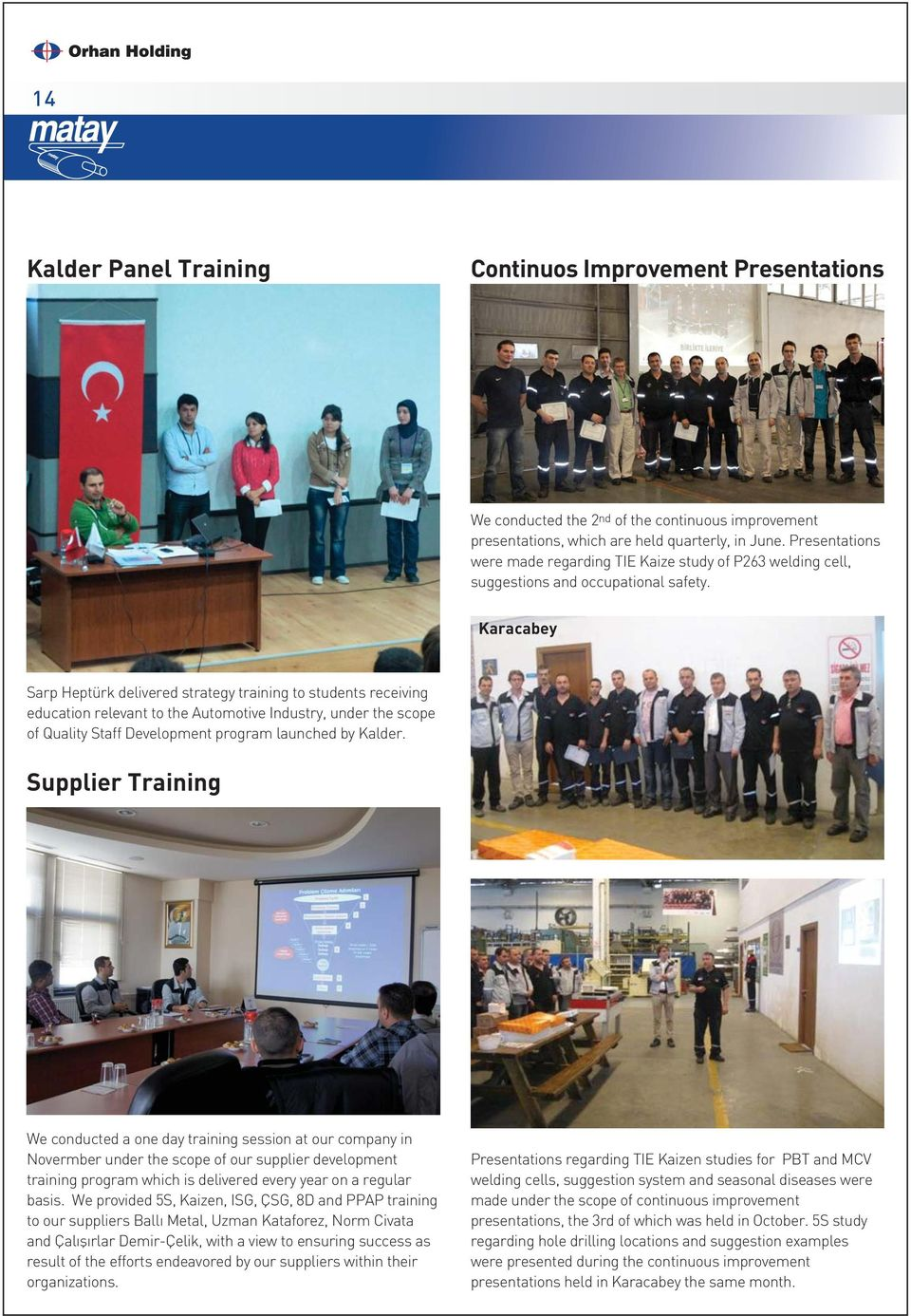 Karacabey Sarp Heptürk delivered strategy training to students receiving education relevant to the Automotive Industry, under the scope of Quality Staff Development program launched by Kalder.