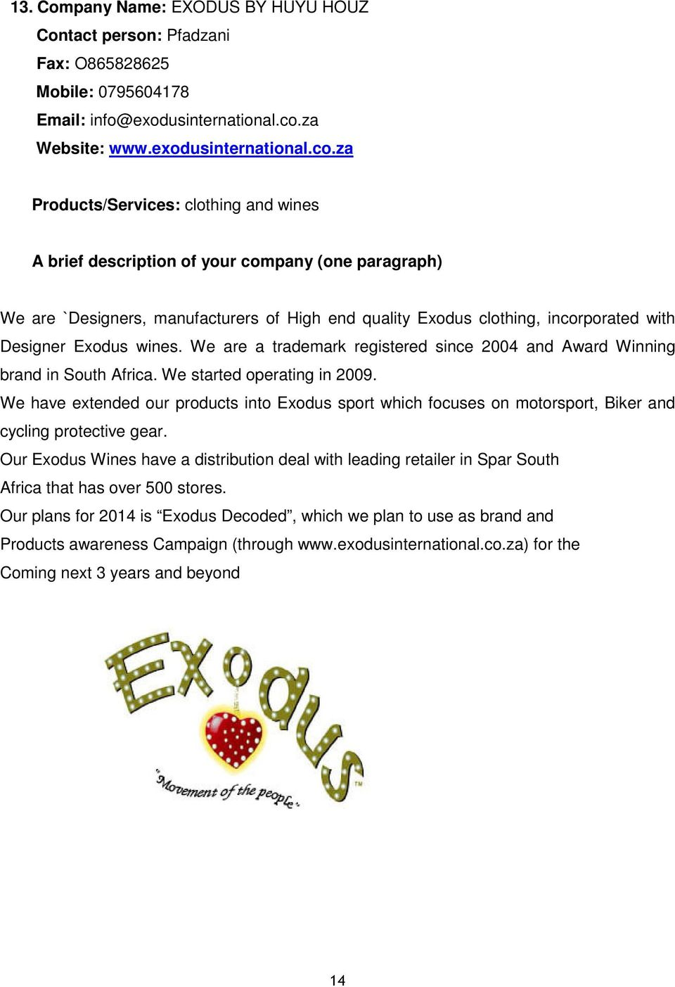 We are a trademark registered since 2004 and Award Winning brand in South Africa. We started operating in 2009.