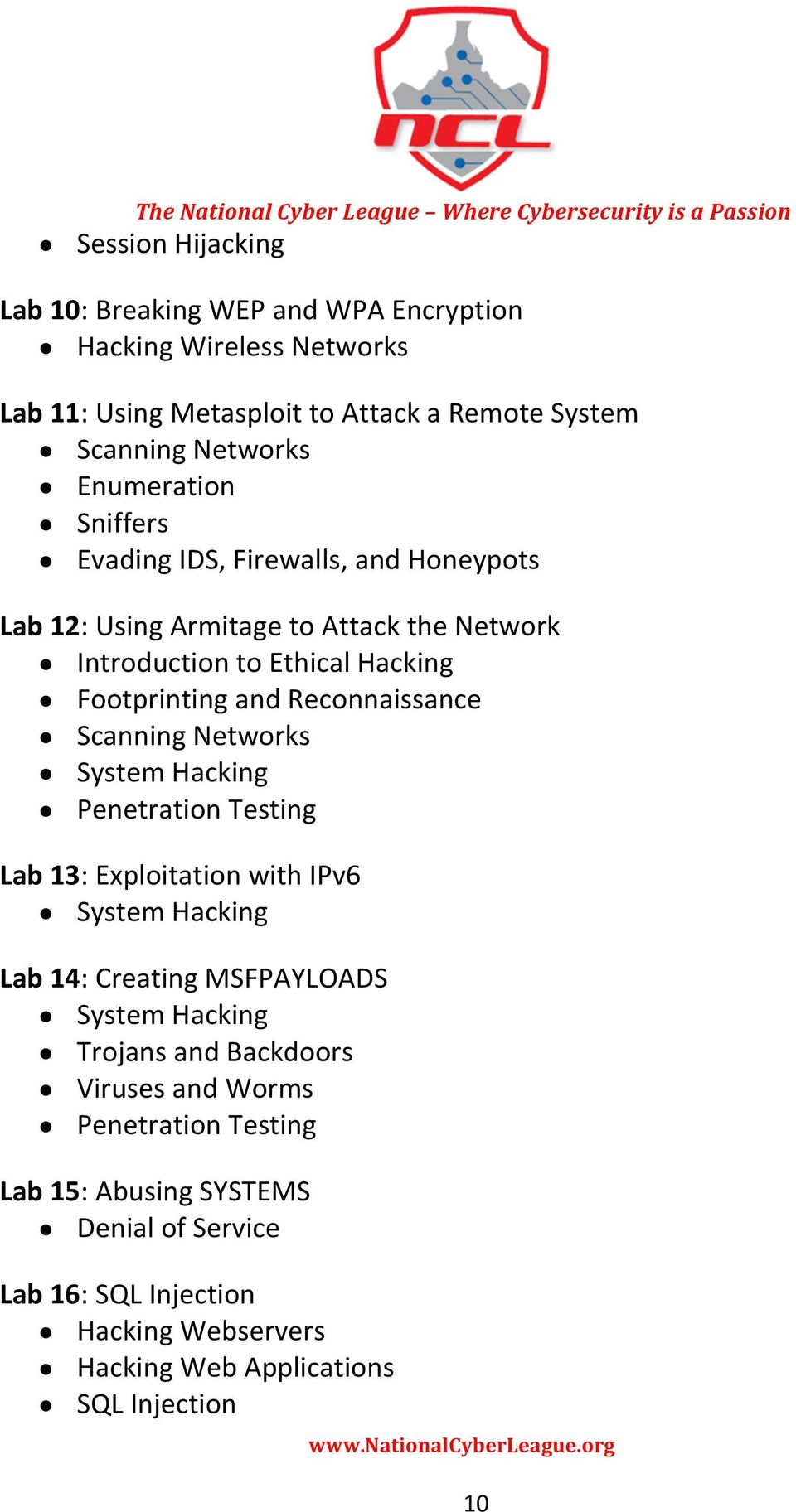 Footprinting and Reconnaissance Scanning Networks Penetration Testing Lab 13: Exploitation with IPv6 Lab 14: Creating MSFPAYLOADS Trojans and