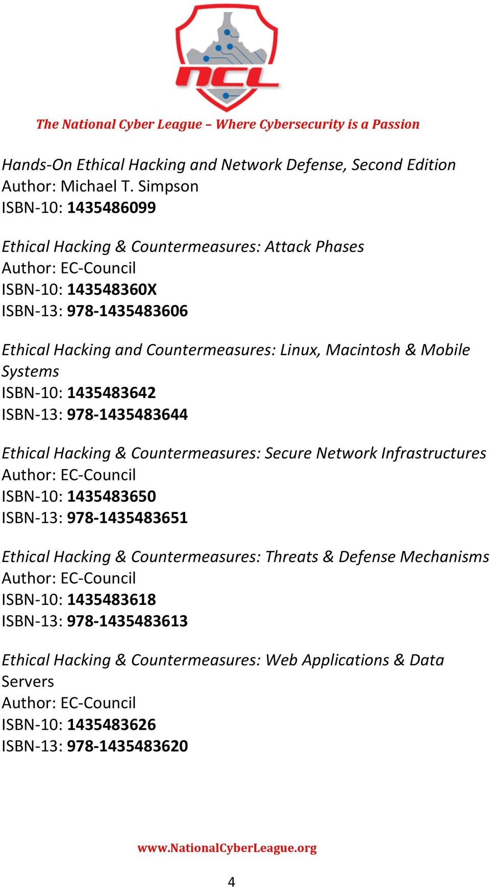 Linux, Macintosh & Mobile Systems ISBN- 10: 1435483642 ISBN- 13: 978-1435483644 Ethical Hacking & Countermeasures: Secure Network Infrastructures Author: EC- Council ISBN- 10: