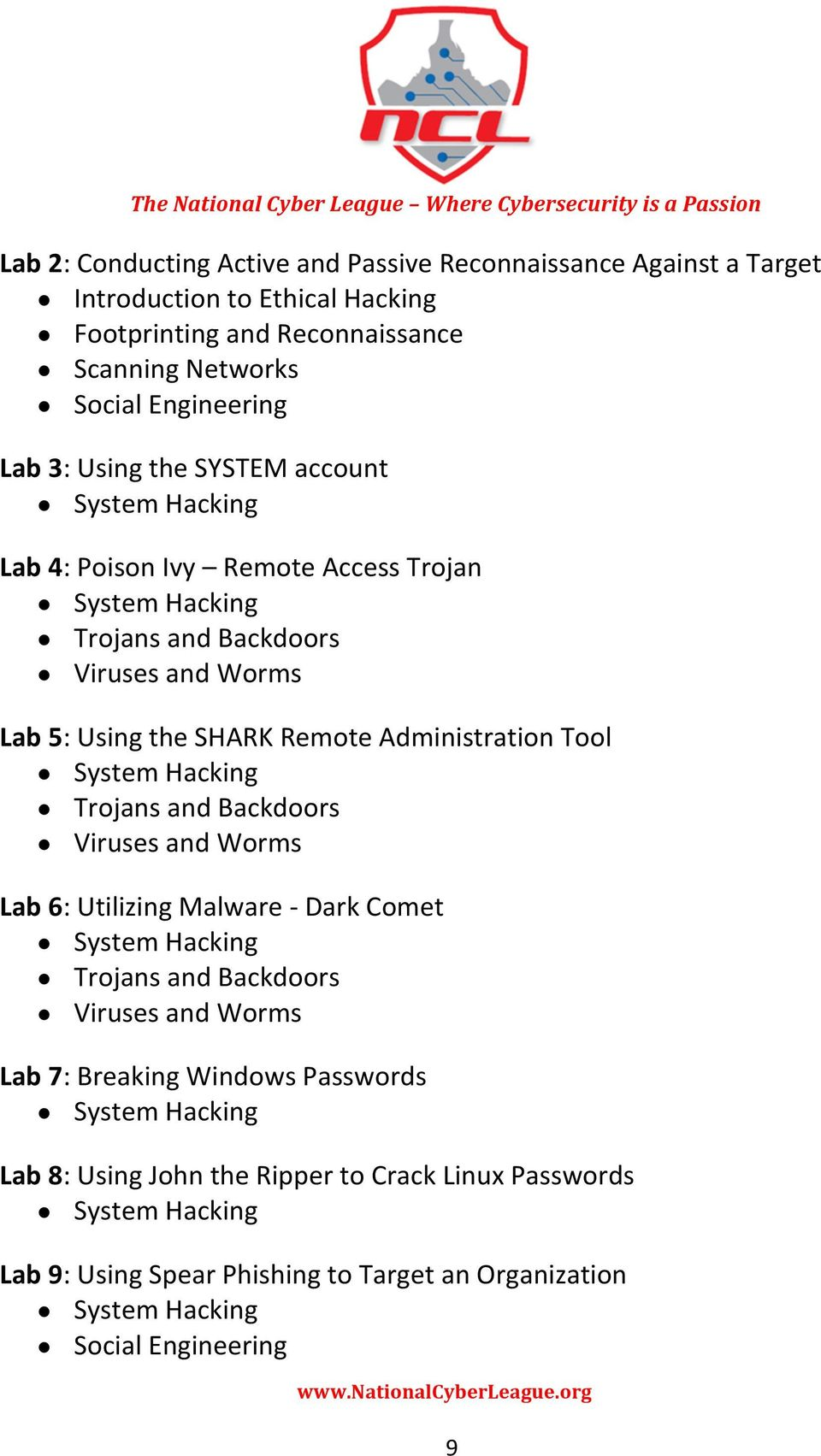 Remote Administration Tool Trojans and Backdoors Viruses and Worms Lab 6: Utilizing Malware - Dark Comet Trojans and Backdoors Viruses and Worms Lab 7: