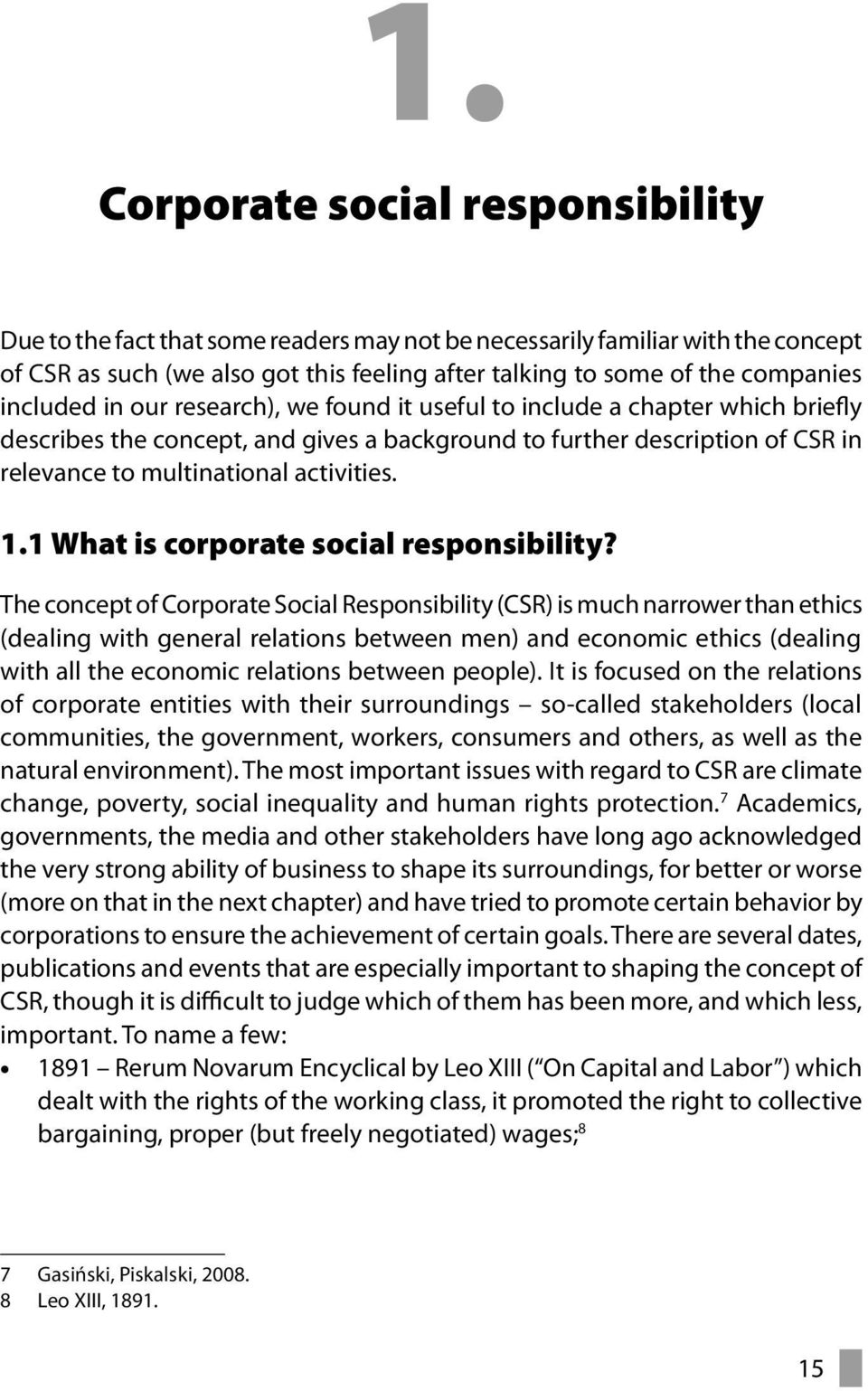 1.1 What is corporate social responsibility?