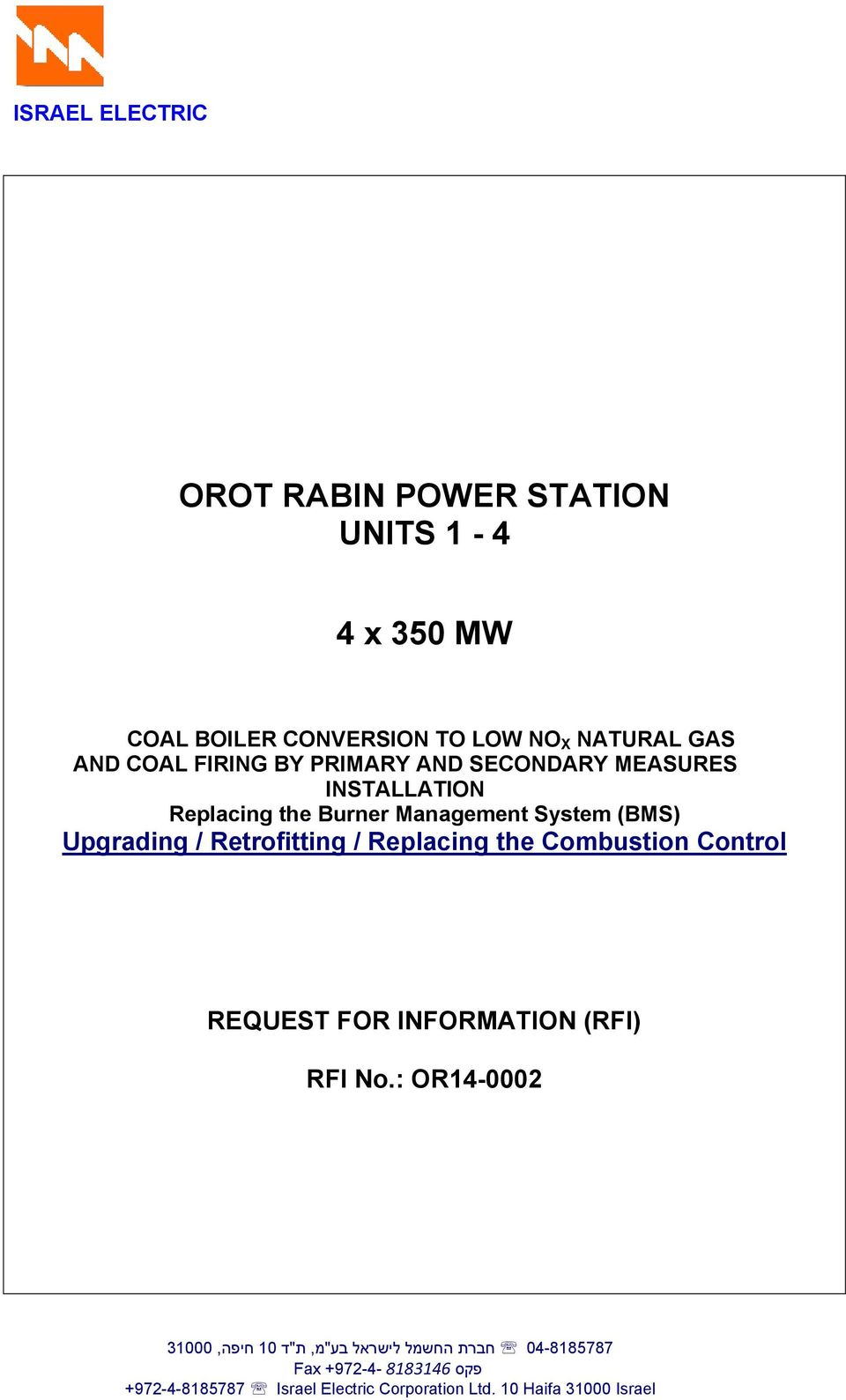 / Retrofitting / Replacing the Combustion Control REQUEST FOR INFORMATION (RFI) 04-8185787 חברת החשמל לישראל