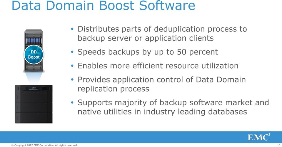 resource utilization Provides application control of Data Domain replication process