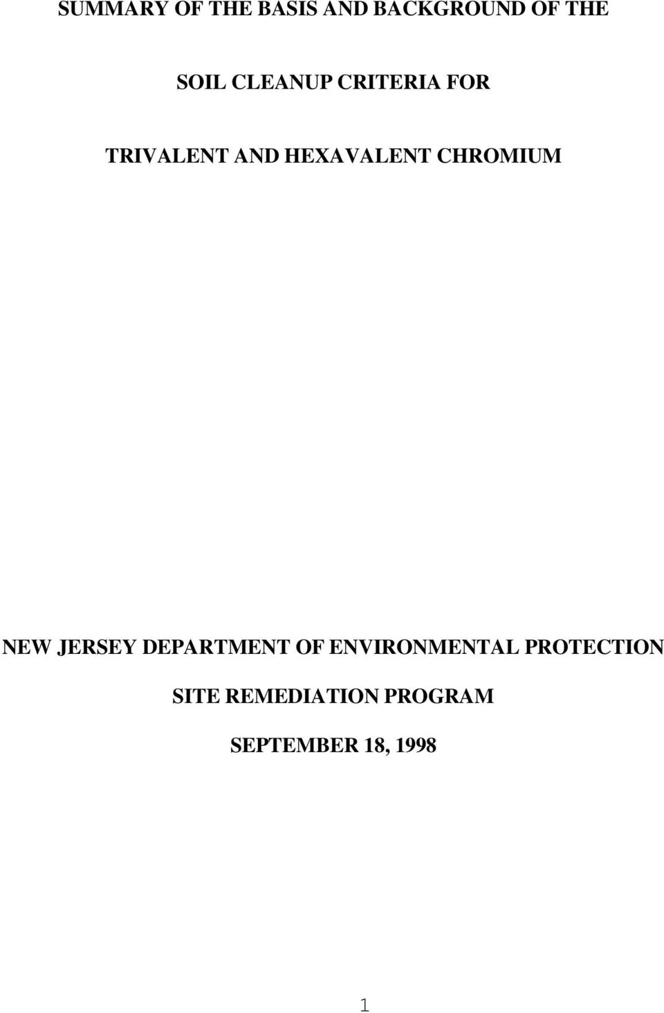 CHROMIUM NEW JERSEY DEPARTMENT OF ENVIRONMENTAL