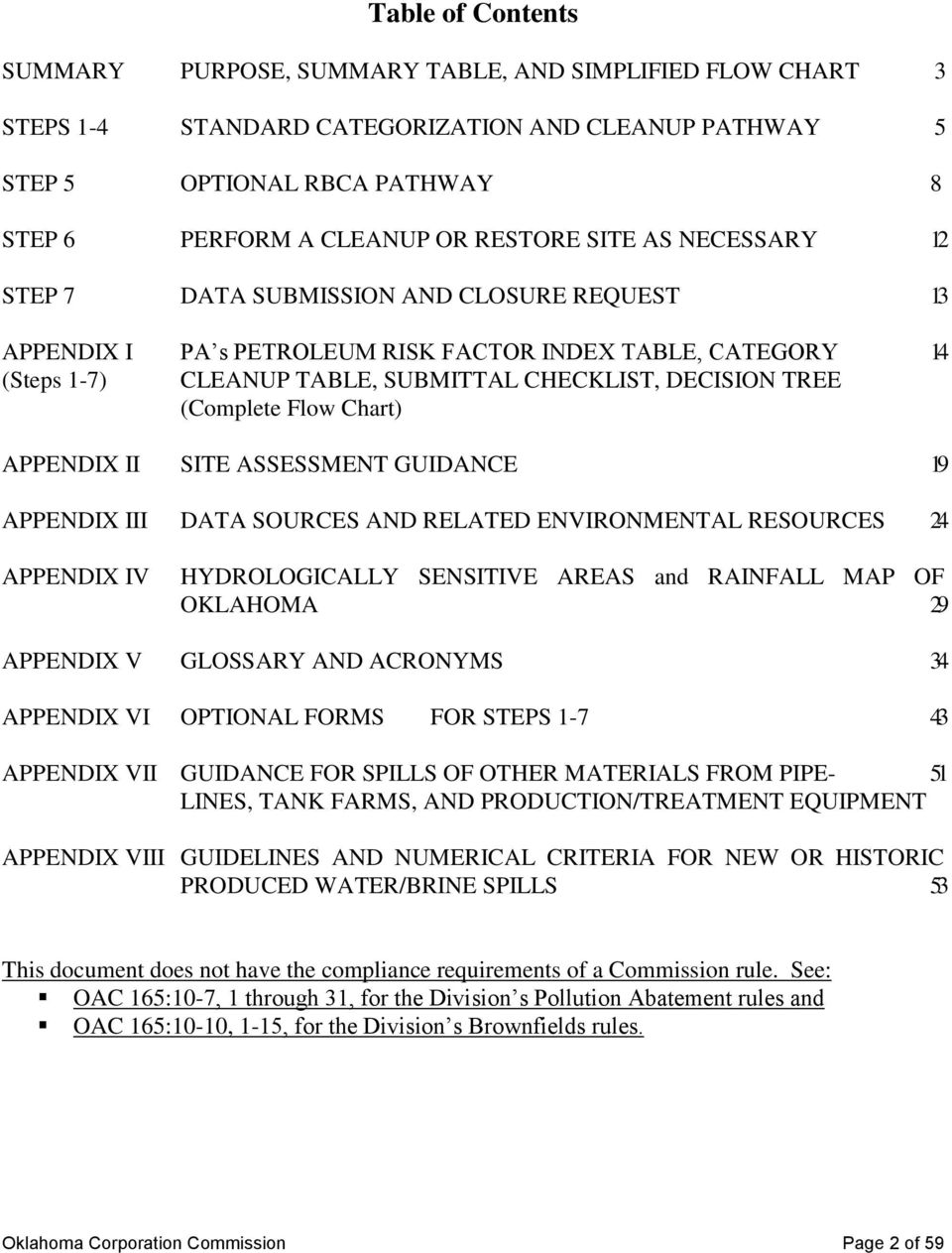 (Complete Flow Chart) APPENDIX II SITE ASSESSMENT GUIDANCE 19 APPENDIX III DATA SOURCES AND RELATED ENVIRONMENTAL RESOURCES 24 APPENDIX IV HYDROLOGICALLY SENSITIVE AREAS and RAINFALL MAP OF OKLAHOMA