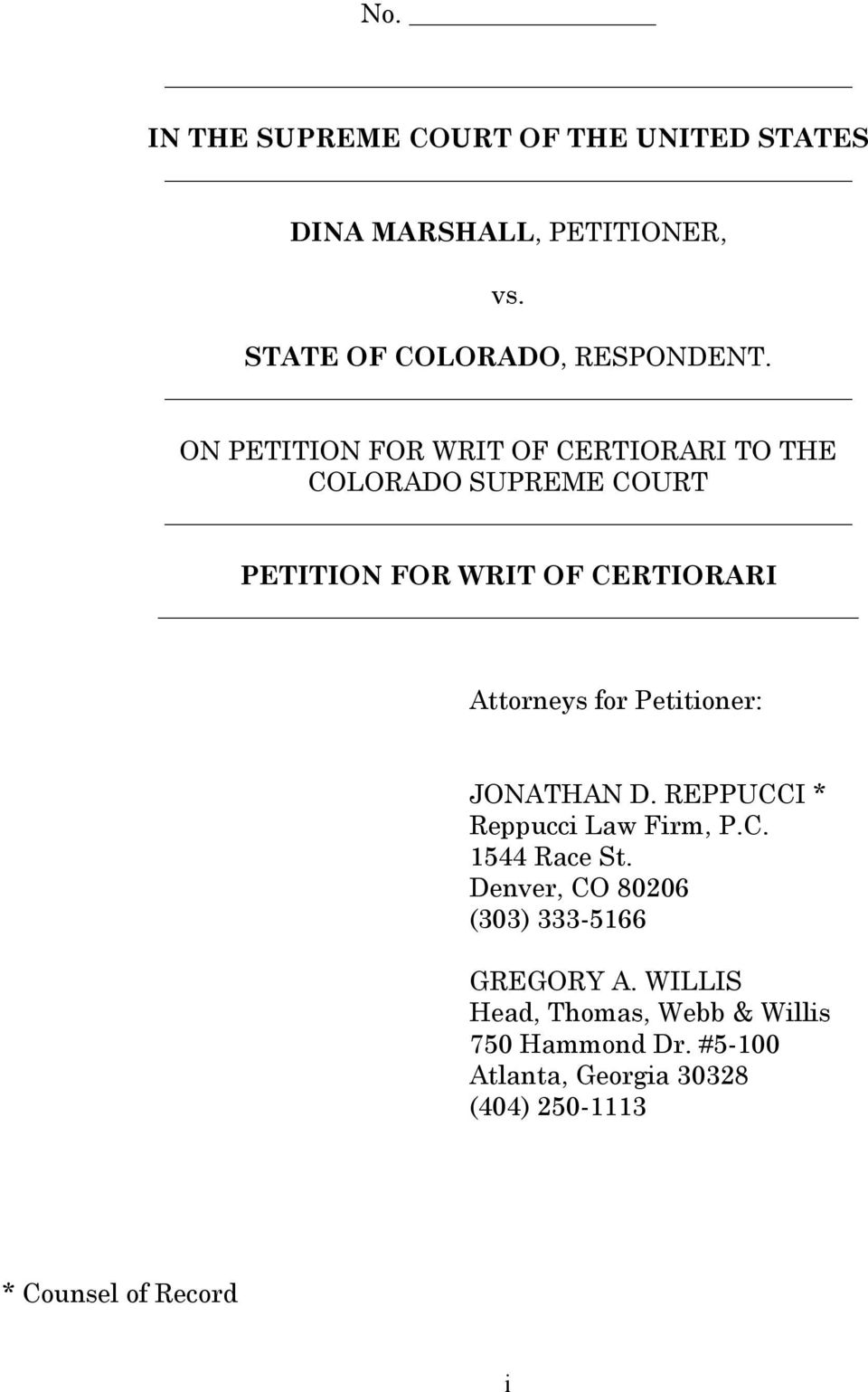Petitioner: JONATHAN D. REPPUCCI * Reppucci Law Firm, P.C. 1544 Race St.