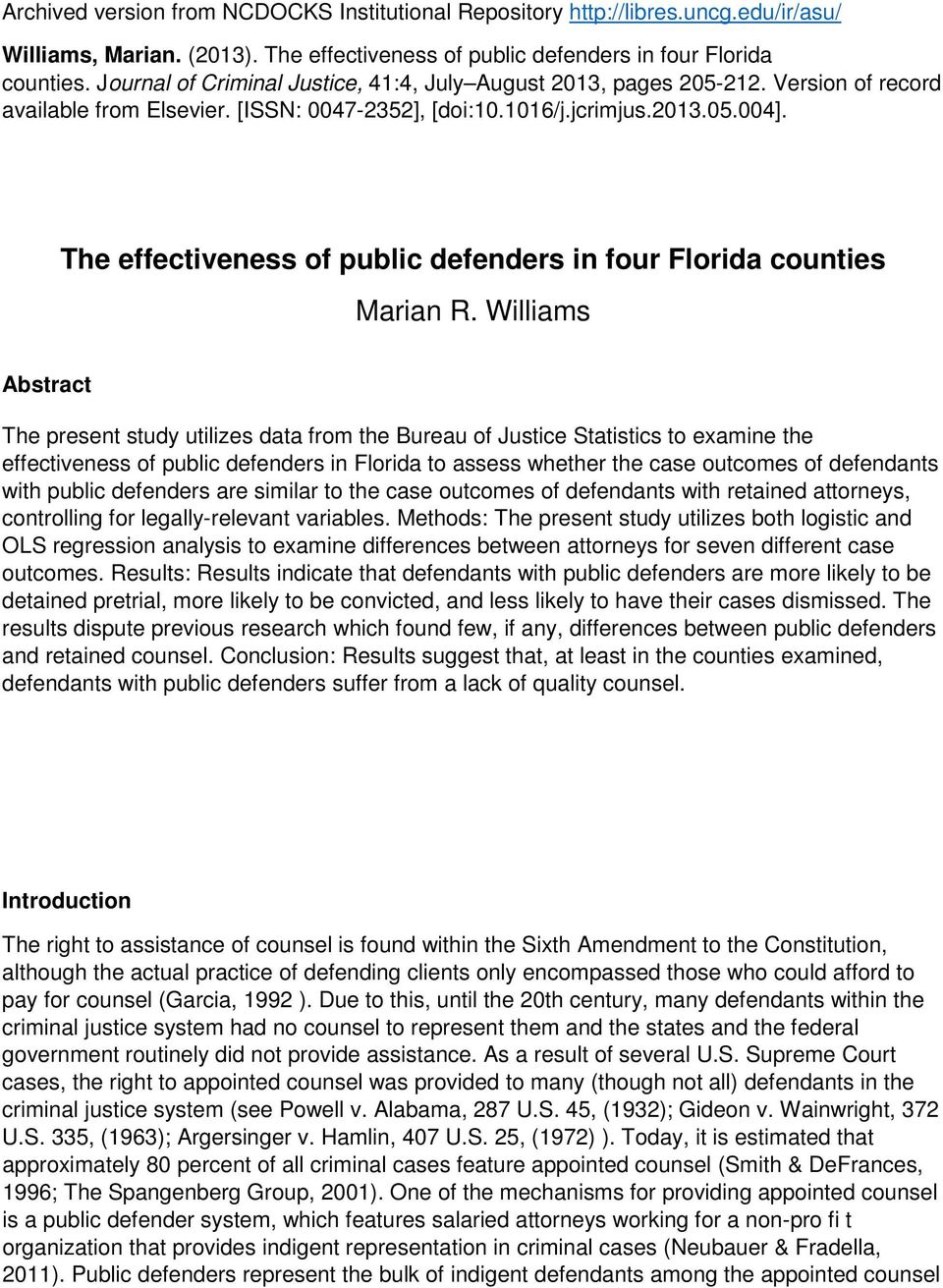 The effectiveness of public defenders in four Florida counties Marian R.