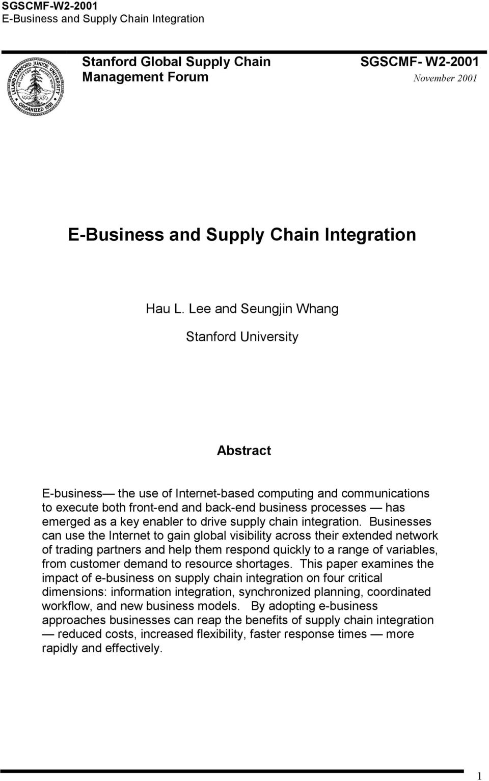 enabler to drive supply chain integration.