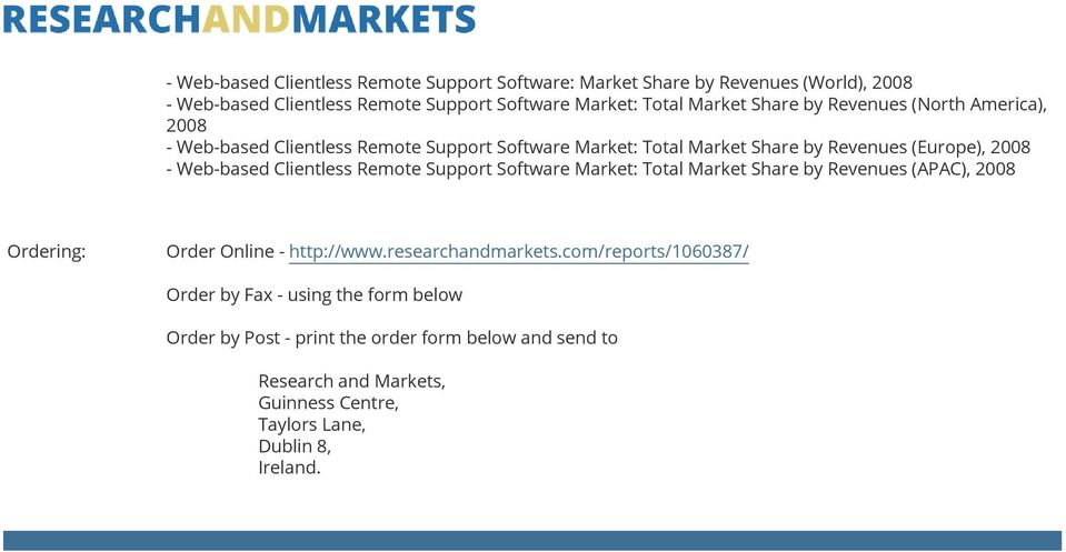 Clientless Remote Support Software Market: Total Market Share by Revenues (APAC), 2008 Ordering: Order Online - http://www.researchandmarkets.