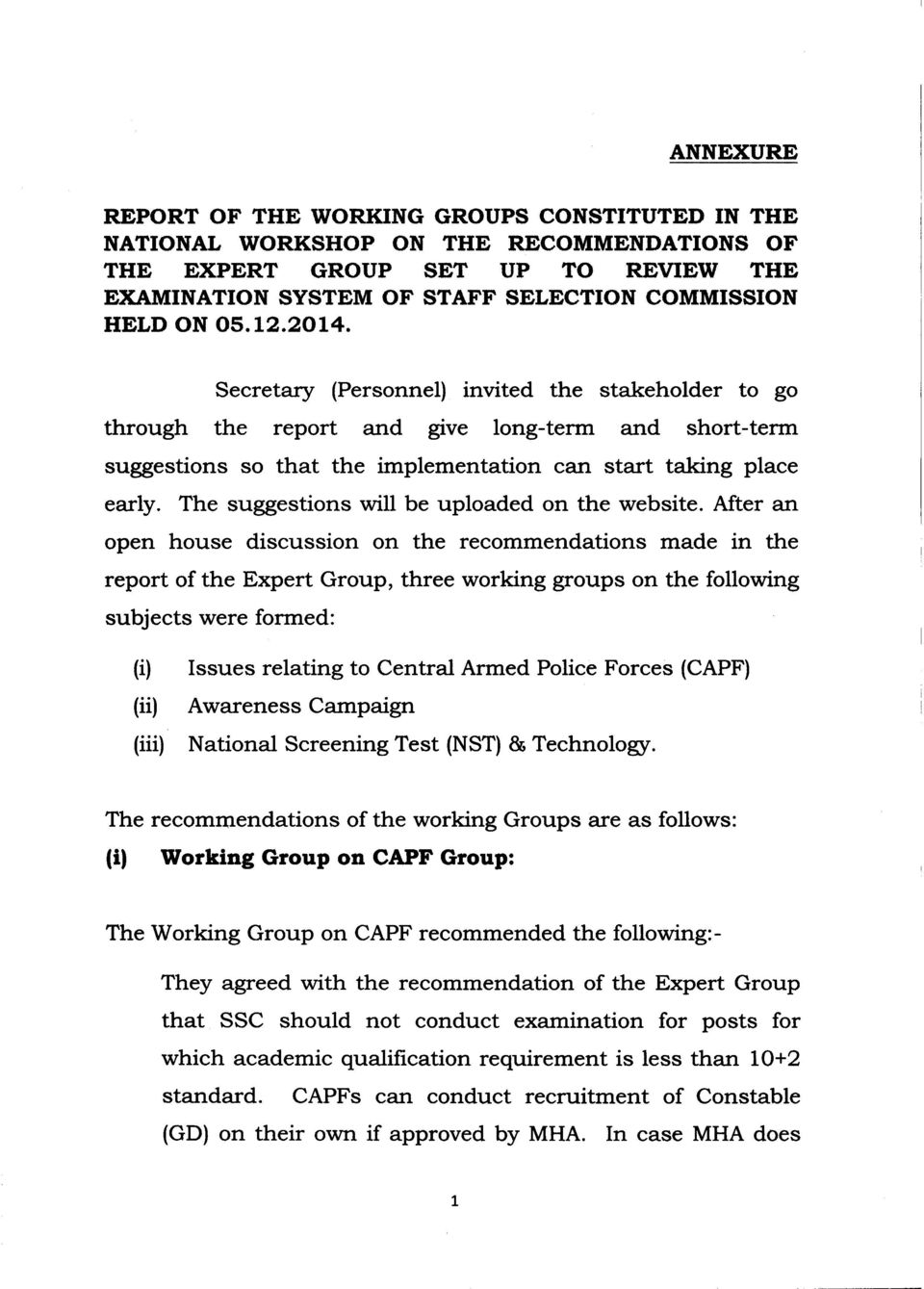 No 39020/01/2013-Estt (B) Government of India Ministry of Personnel