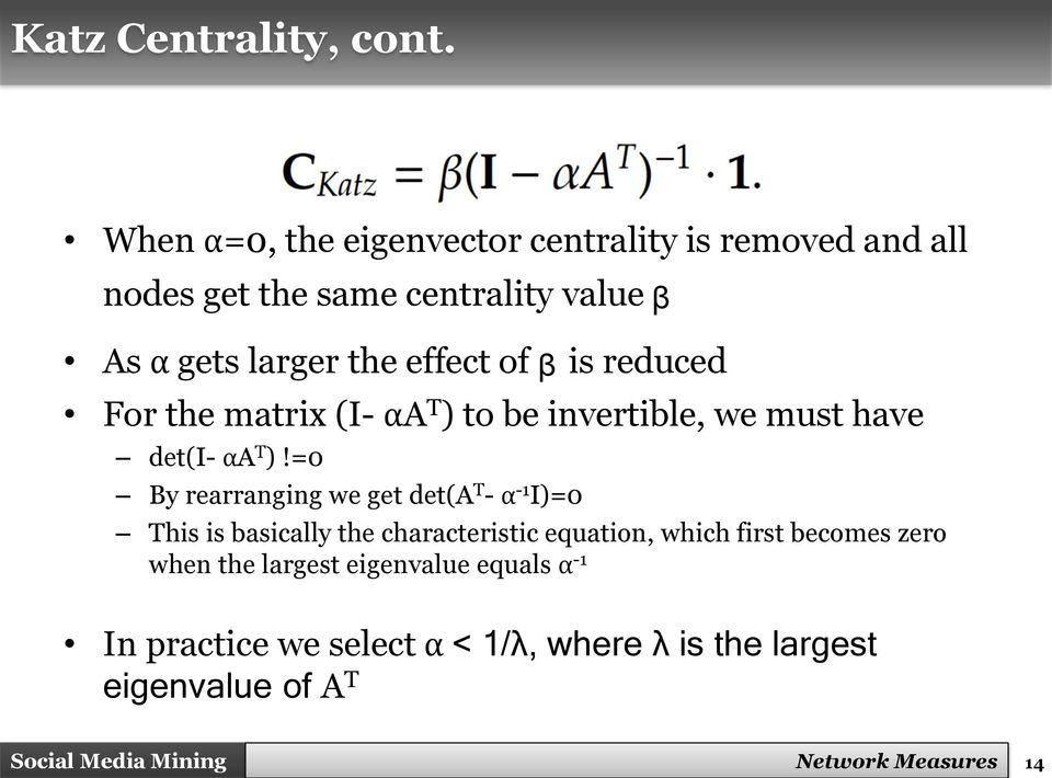 effect of ᵦ is reduced For the matrix (I- αa T ) to be invertible, we must have det(i- αa T )!