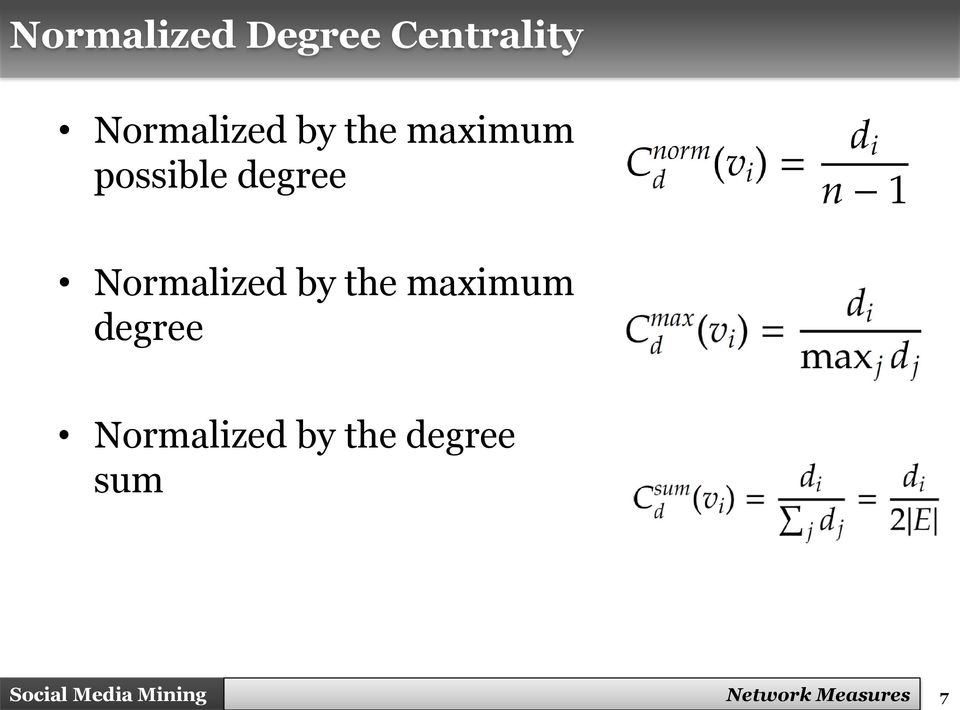 degree Normalized by the maximum