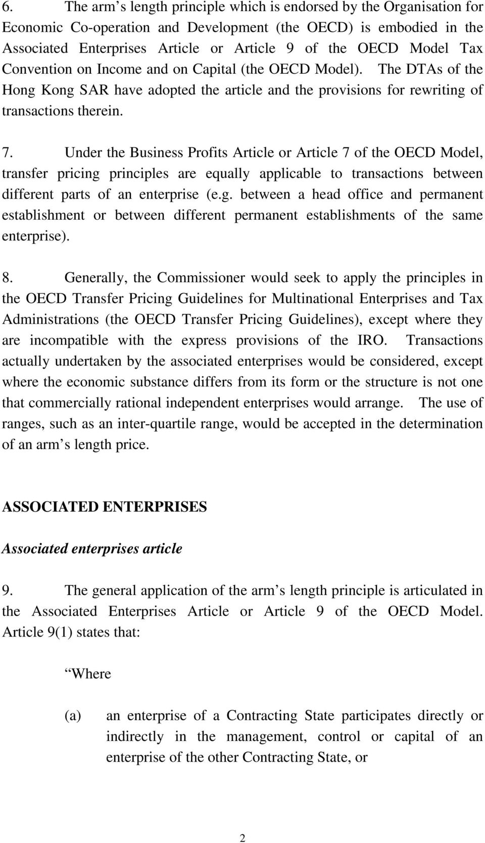 Under the Business Profits Article or Article 7 of the OECD Model, transfer pricing