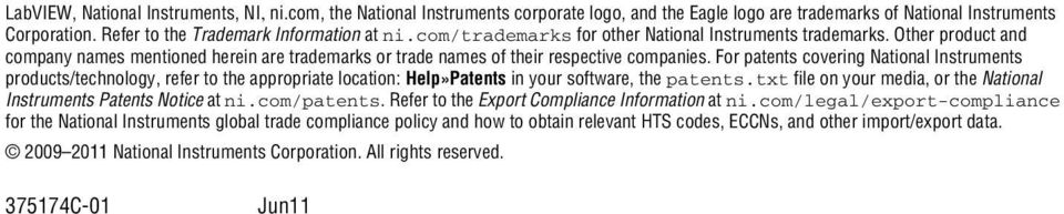 For patents covering National Instruments products/technology, refer to the appropriate location: Help»Patents in your software, the patents.