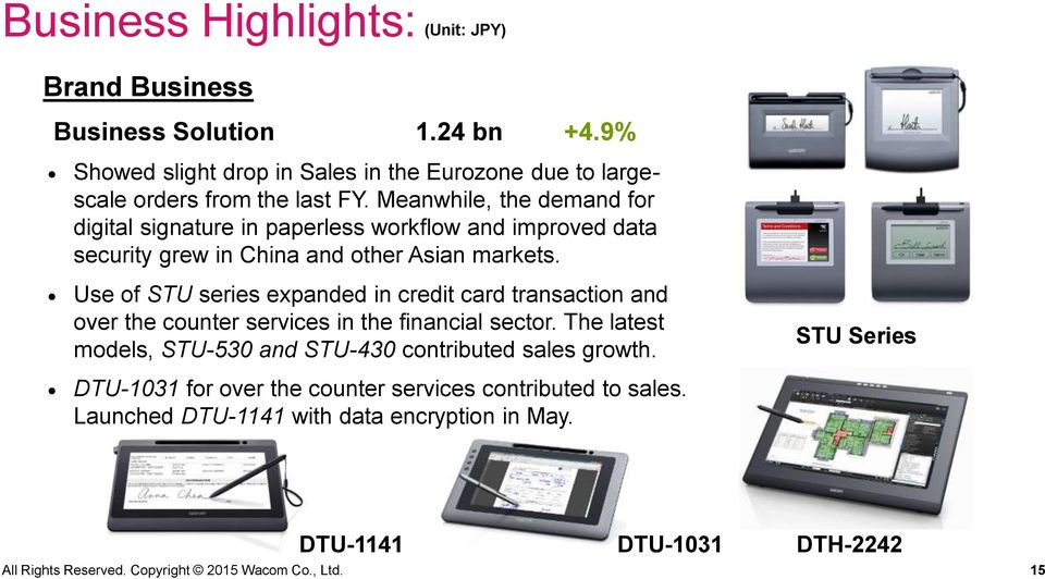 Use of STU series expanded in credit card transaction and over the counter services in the financial sector.