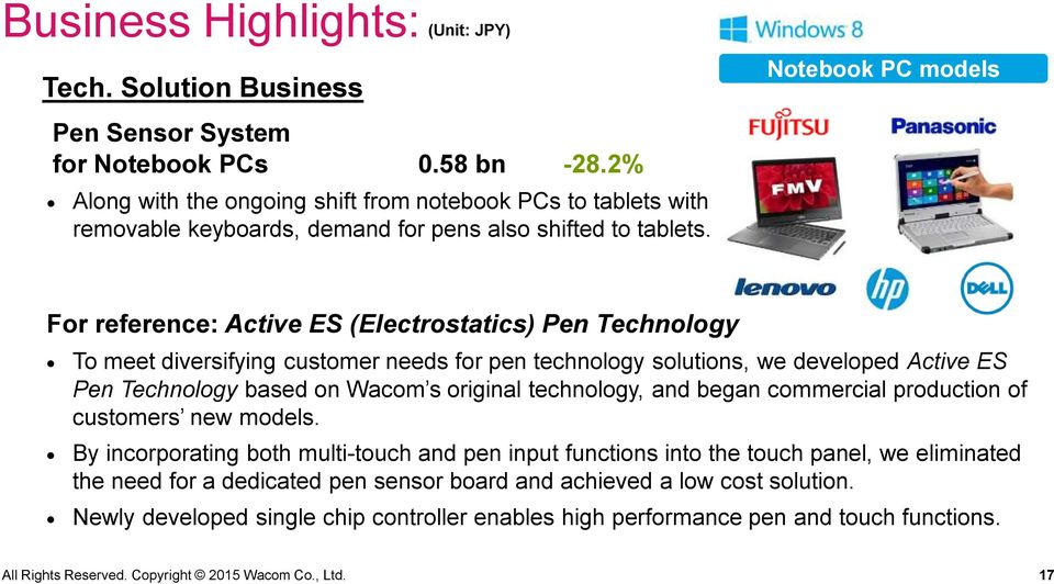 For reference: Active ES (Electrostatics) Pen Technology To meet diversifying customer needs for pen technology solutions, we developed Active ES Pen Technology based on Wacom s original technology,
