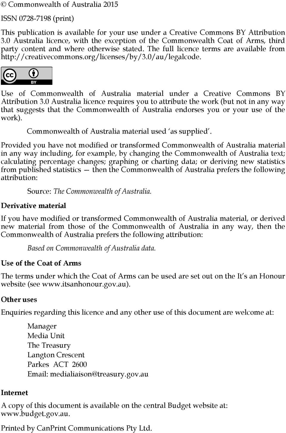 org/licenses/by/3.0/au/legalcode. Use of Commonwealth of Australia material under a Creative Commons BY Attribution 3.