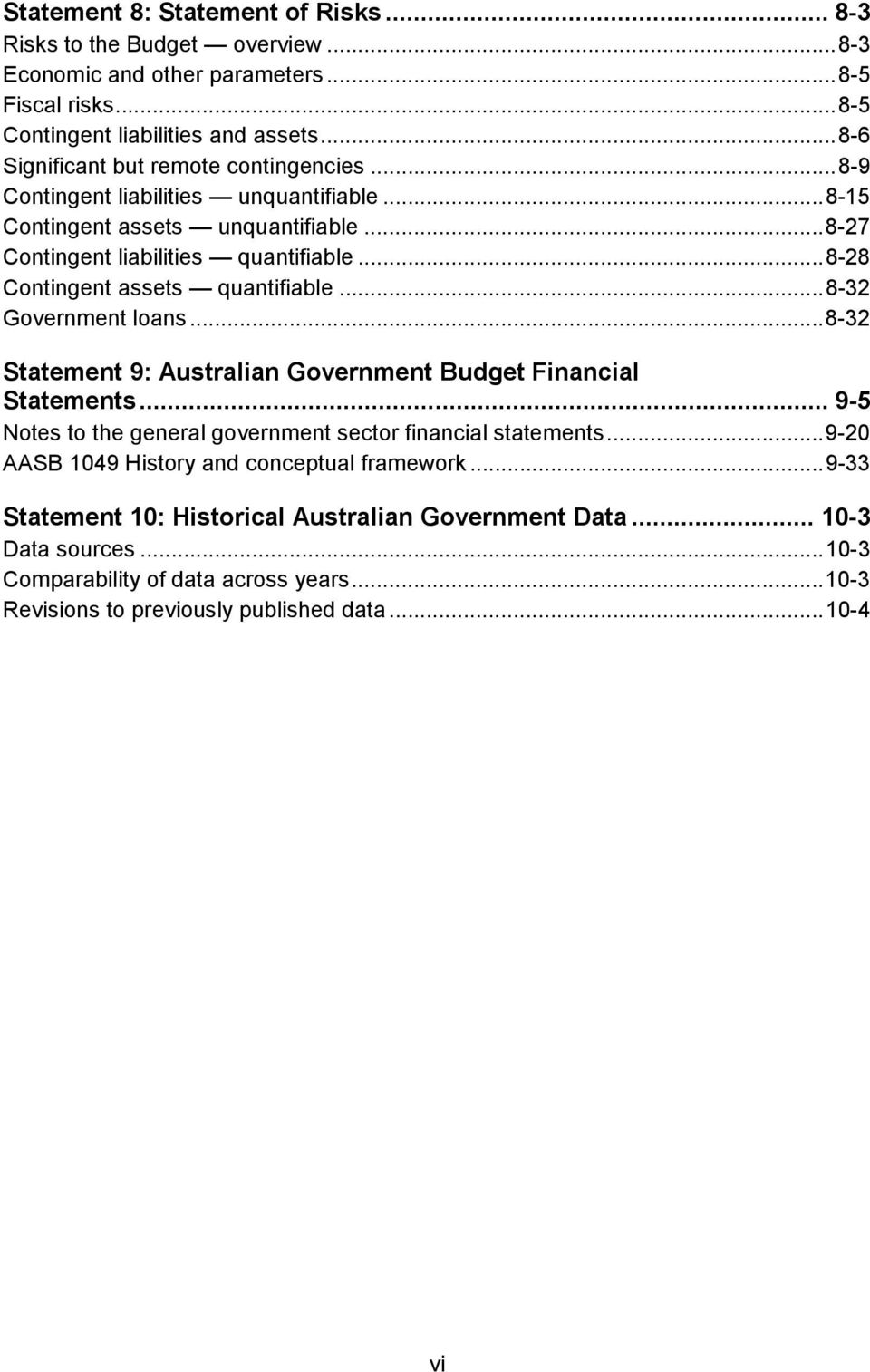 .. 8-28 Contingent assets quantifiable... 8-32 Government loans... 8-32 Statement 9: Australian Government Budget Financial Statements.