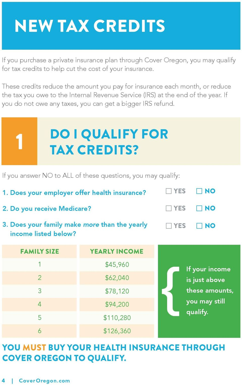 If you do not owe any taxes, you can get a bigger IRS refund. 1 DO I QUALIFY FOR TAX CREDITS? If you answer NO to ALL of these questions, you may qualify: 1. Does your employer offer health insurance?