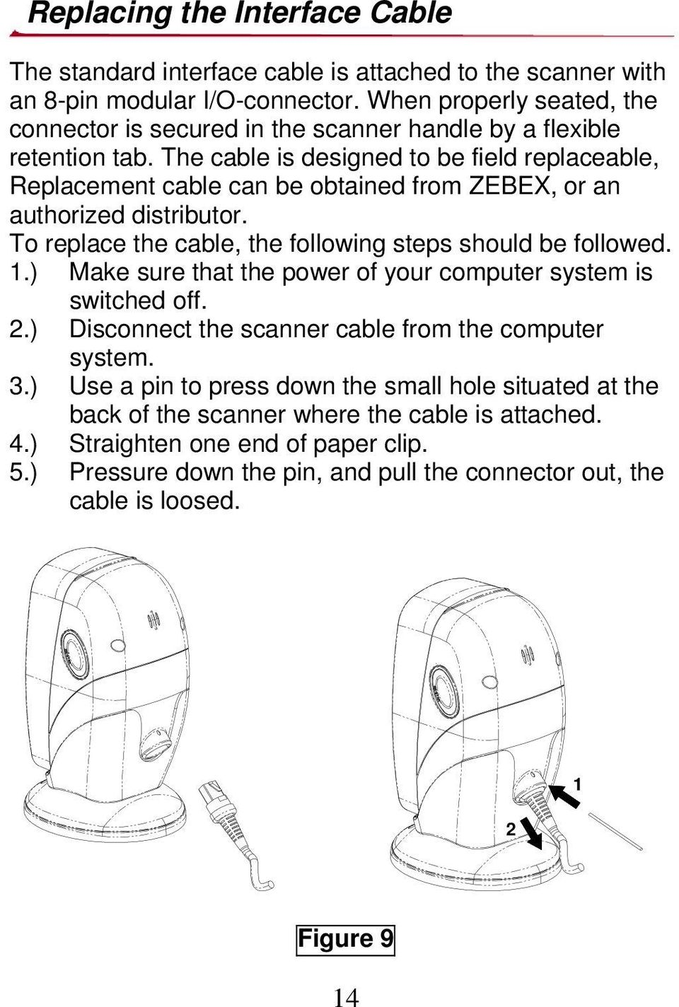 The cable is designed to be field replaceable, Replacement cable can be obtained from ZEBEX, or an authorized distributor. To replace the cable, the following steps should be followed. 1.