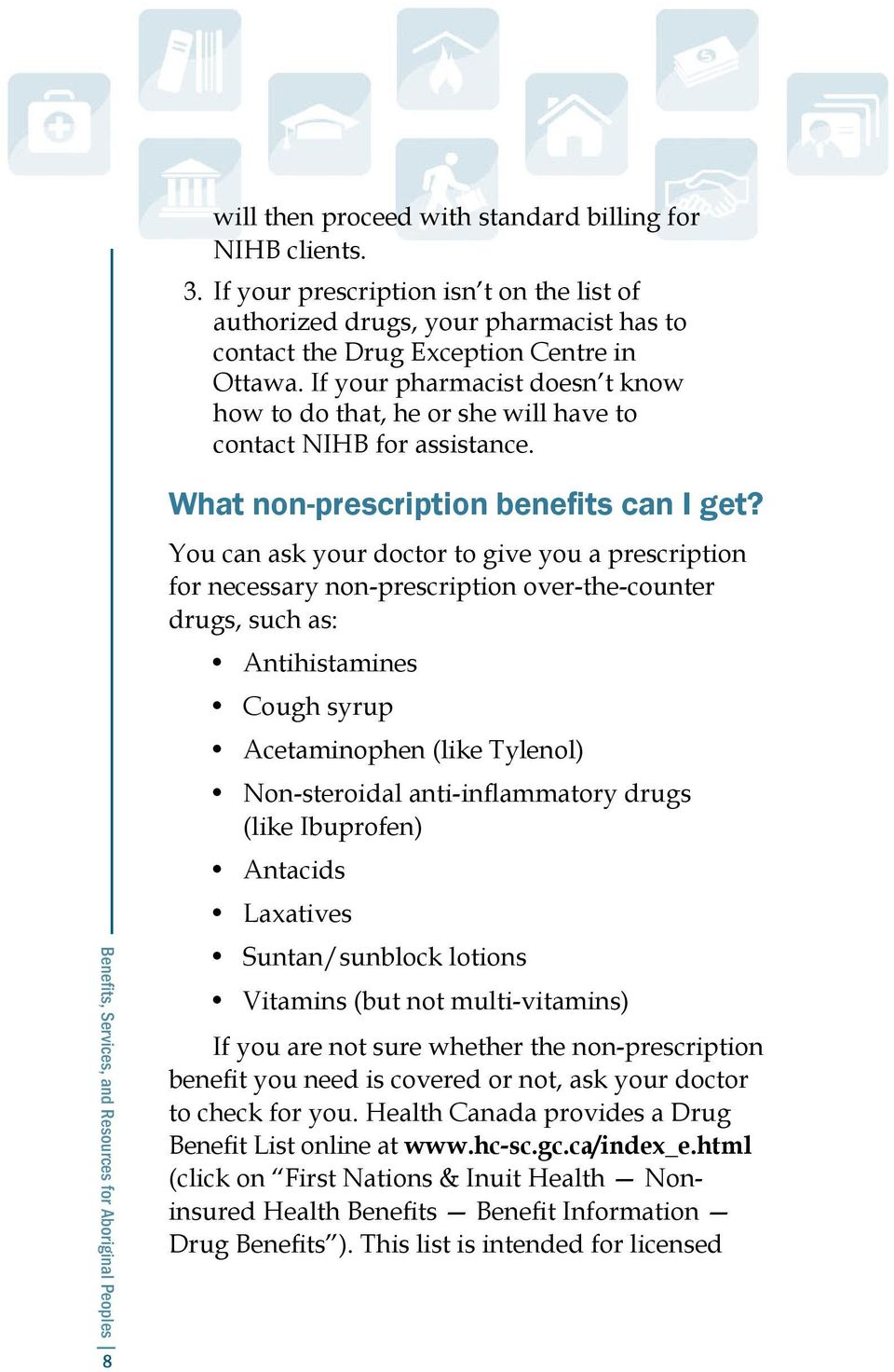You can ask your doctor to give you a prescription for necessary non-prescription over-the-counter drugs, such as: Antihistamines Cough syrup Acetaminophen (like Tylenol) Non-steroidal