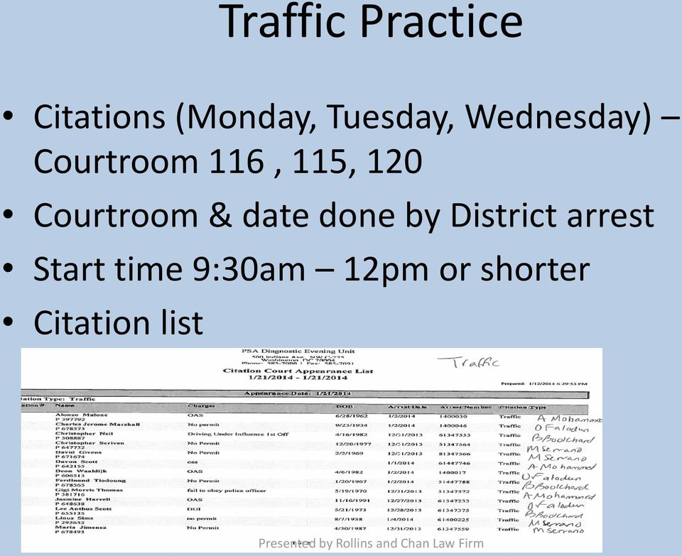 120 Courtroom & date done by District