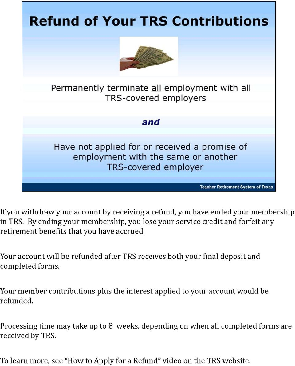 Your account will be refunded after TRS receives both your final deposit and completed forms.