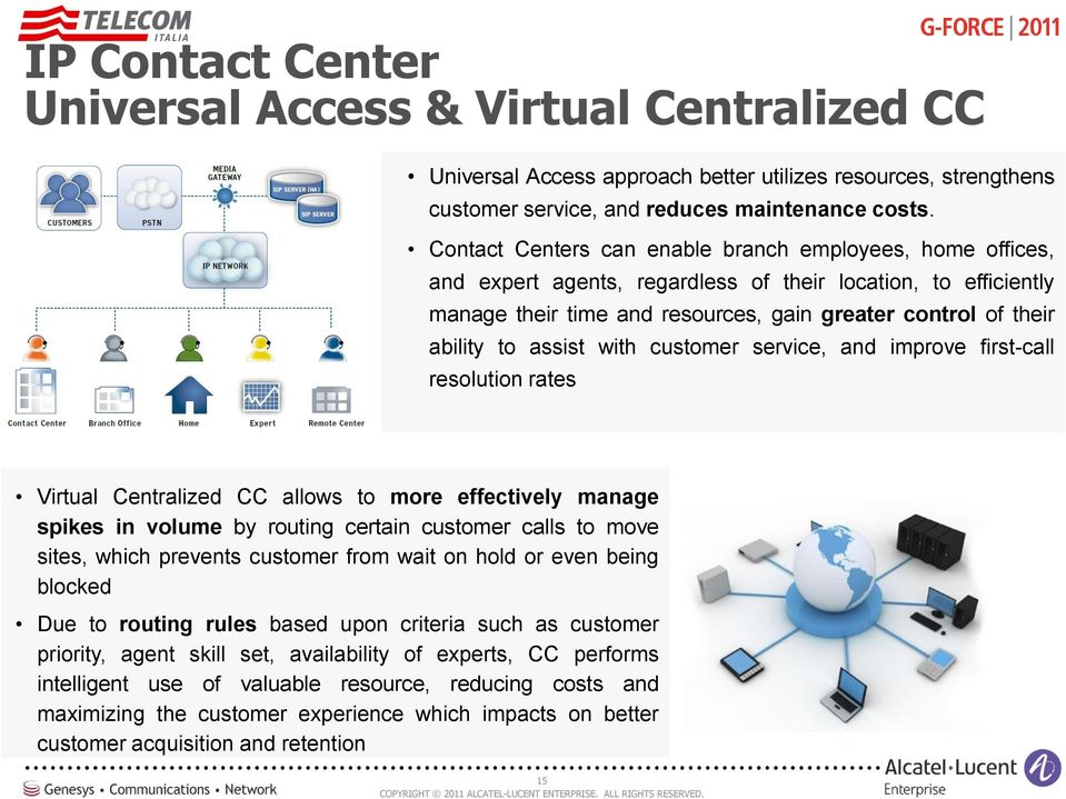 assist with customer service, and improve first-call resolution rates Virtual Centralized CC allows to more effectively manage spikes in volume by routing certain customer calls to move sites, which