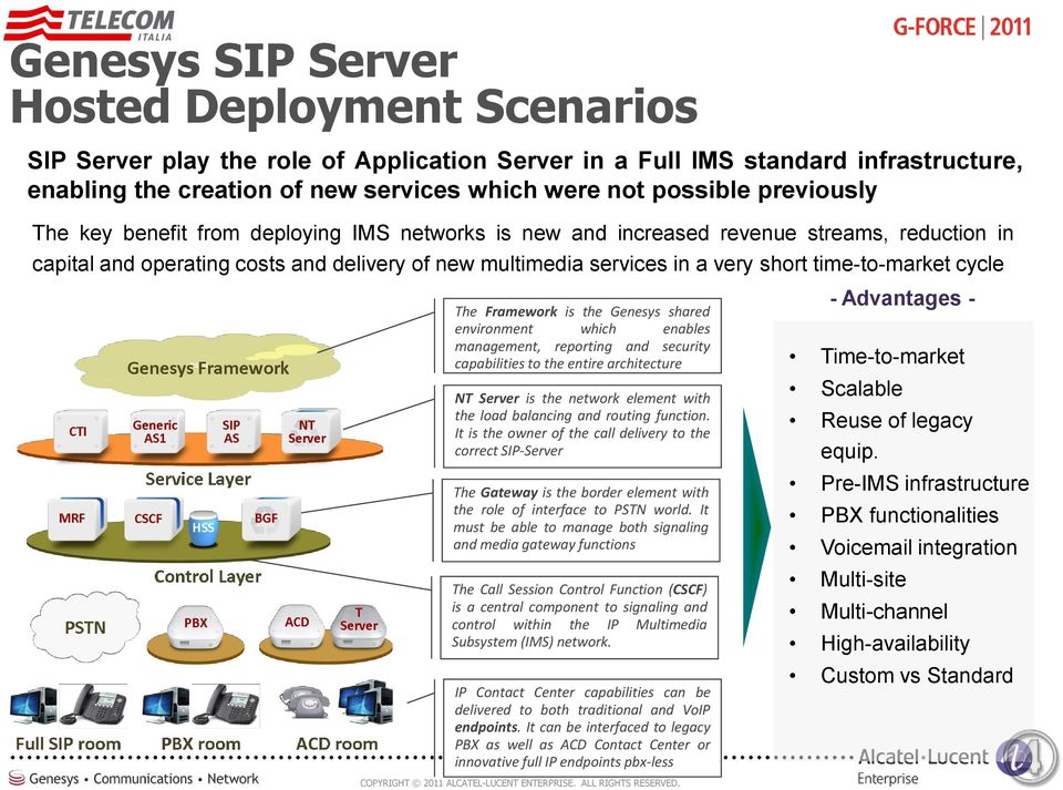 time-to-market cycle The Framework is the Genesys shared environment which enables management, reporting and security capabilities to the entire architecture NT Server is the network element with the