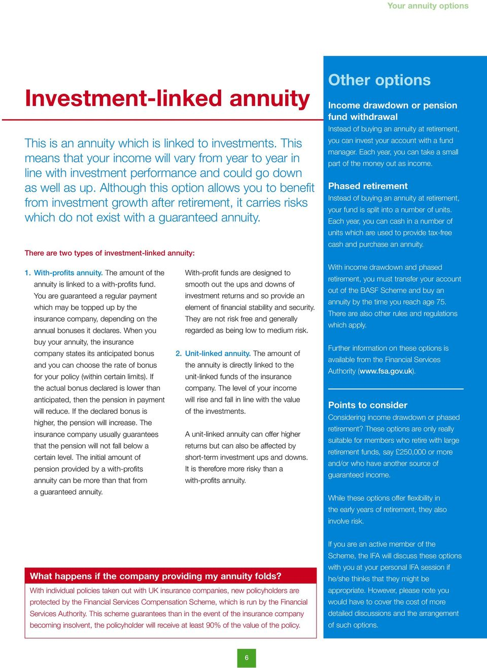 Although this option allows you to benefit from investment growth after retirement, it carries risks which do not exist with a guaranteed annuity.