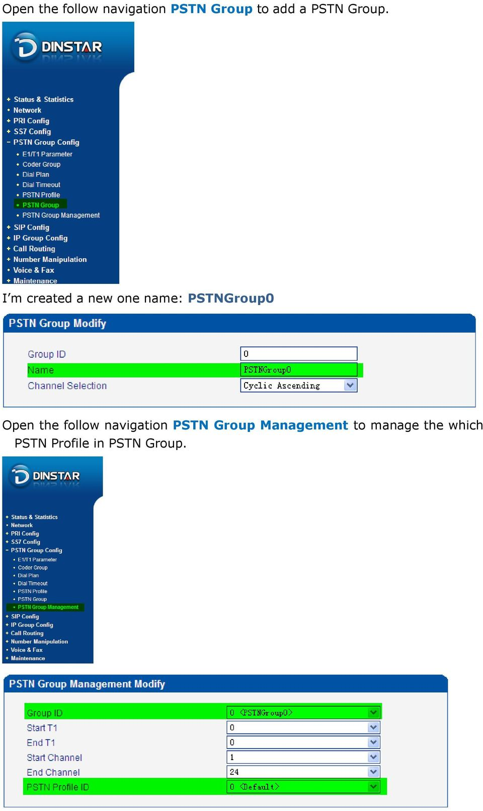 I m created a new one name: PSTNGroup0 Open the