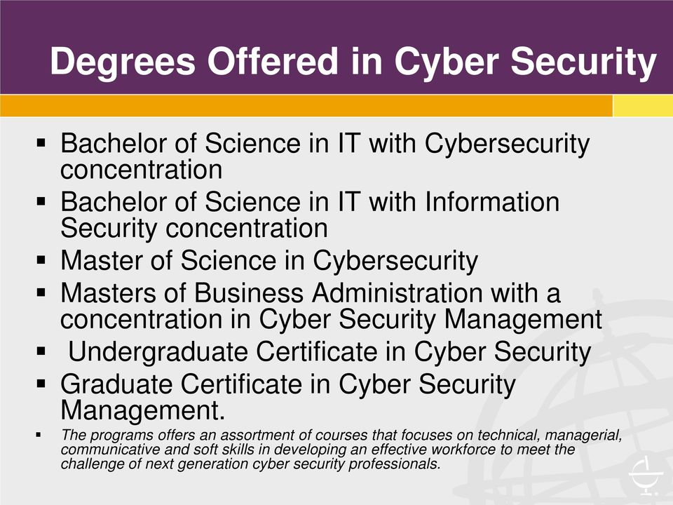 Certificate in Cyber Security Graduate Certificate in Cyber Security Management.
