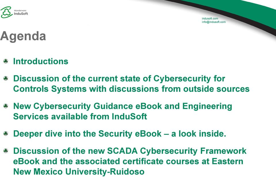 available from InduSoft Deeper dive into the Security ebook a look inside.