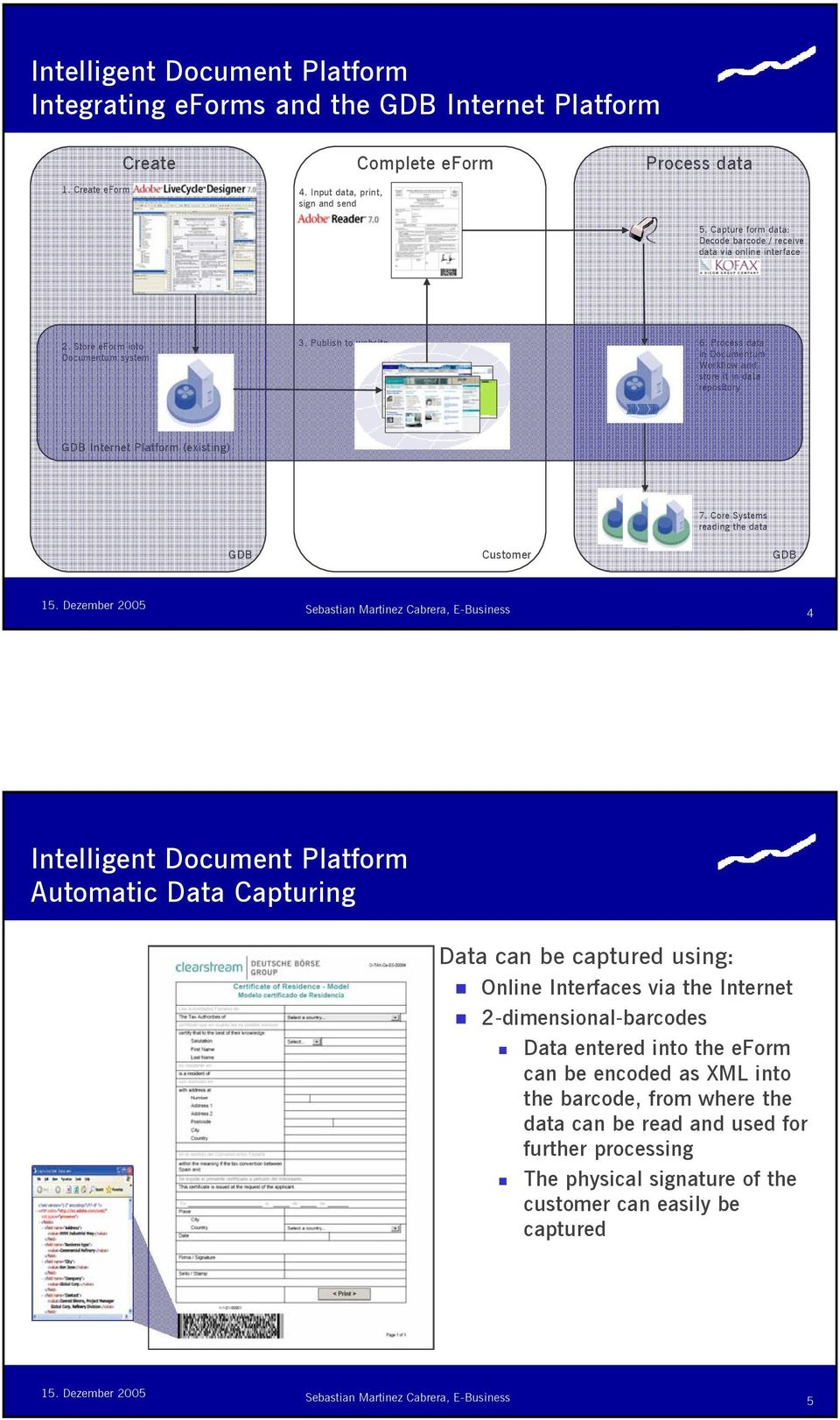 Process data in Documentum Workflow and store it in data repository GDB Internet Platform (existing) 7.