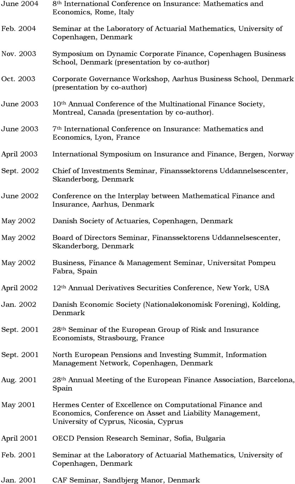 2001 8 th International Conference on Insurance: Mathematics and Economics, Rome, Italy Seminar at the Laboratory of Actuarial Mathematics, University of Copenhagen, Denmark Symposium on Dynamic