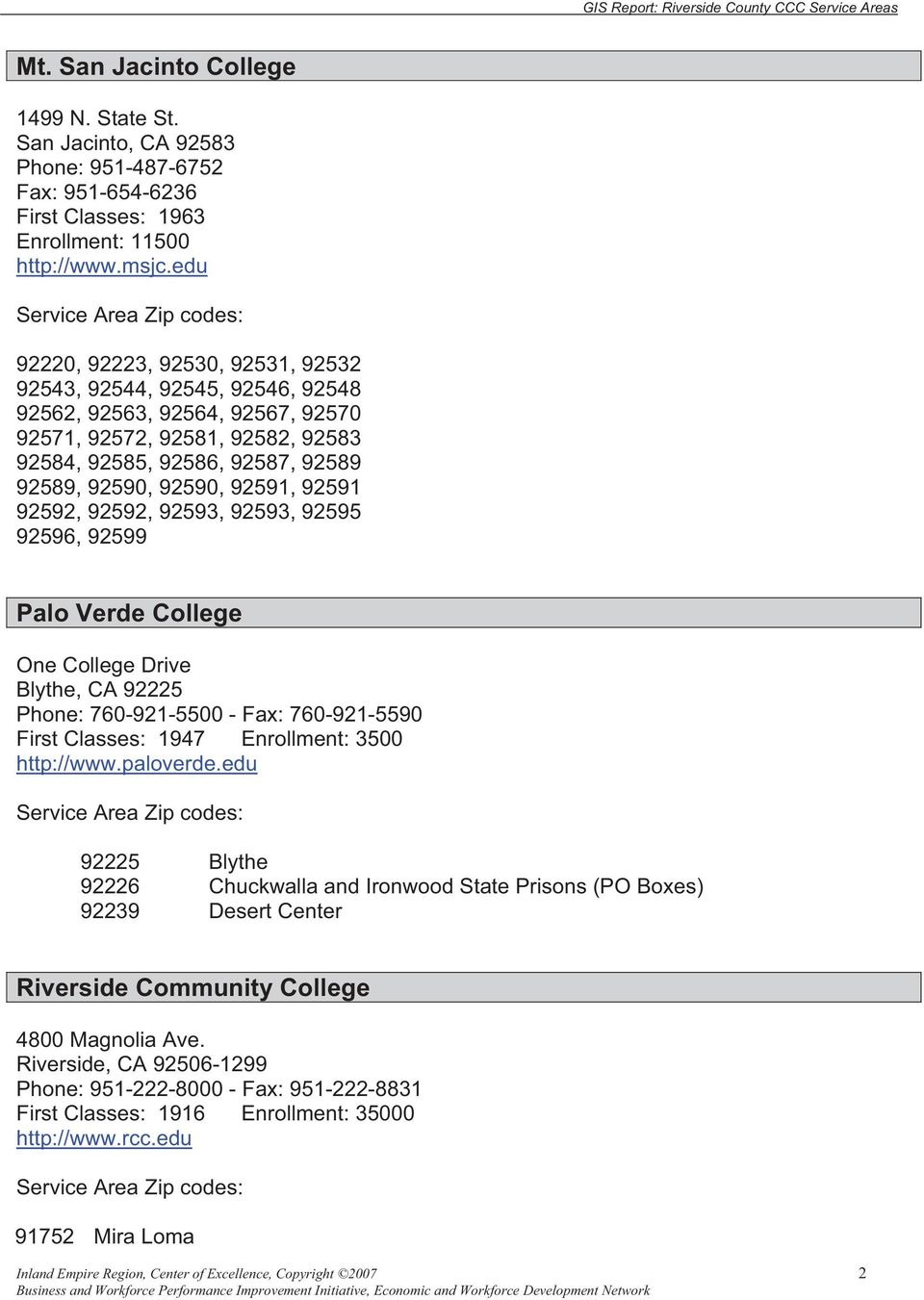 92591, 92591 92592, 92592, 92593, 92593, 92595 92596, 92599 Palo Verde College One College Drive Blythe, CA 92225 Phone: 760-921-5500 - Fax: 760-921-5590 First Classes: 1947 Enrollment: 3500