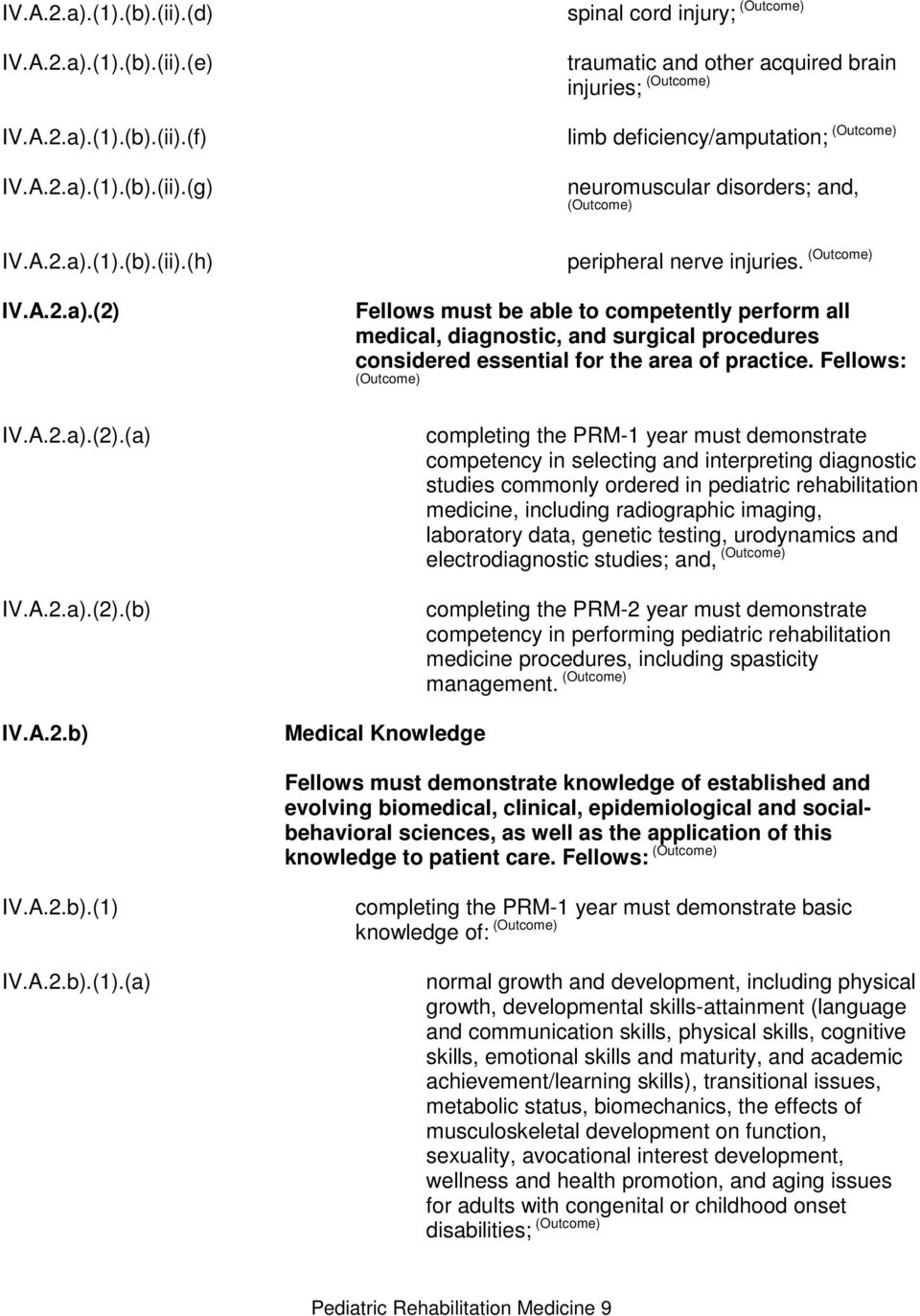 Fellows: (Outcome) Medical Knowledge completing the PRM-1 year must demonstrate competency in selecting and interpreting diagnostic studies commonly ordered in pediatric rehabilitation medicine,