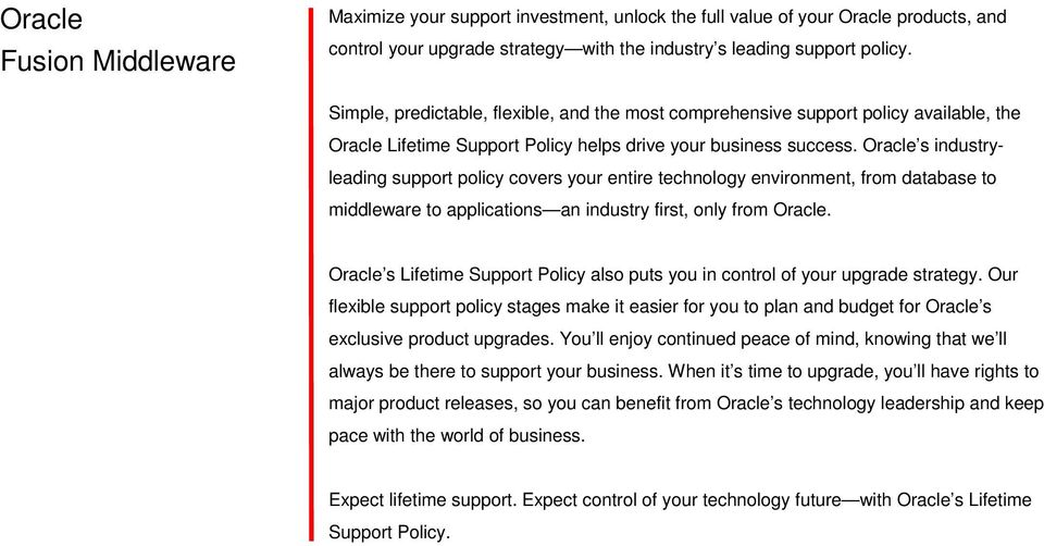 Oracle s industryleading support policy covers your entire technology environment, from database to middleware to applications an industry first, only from Oracle.
