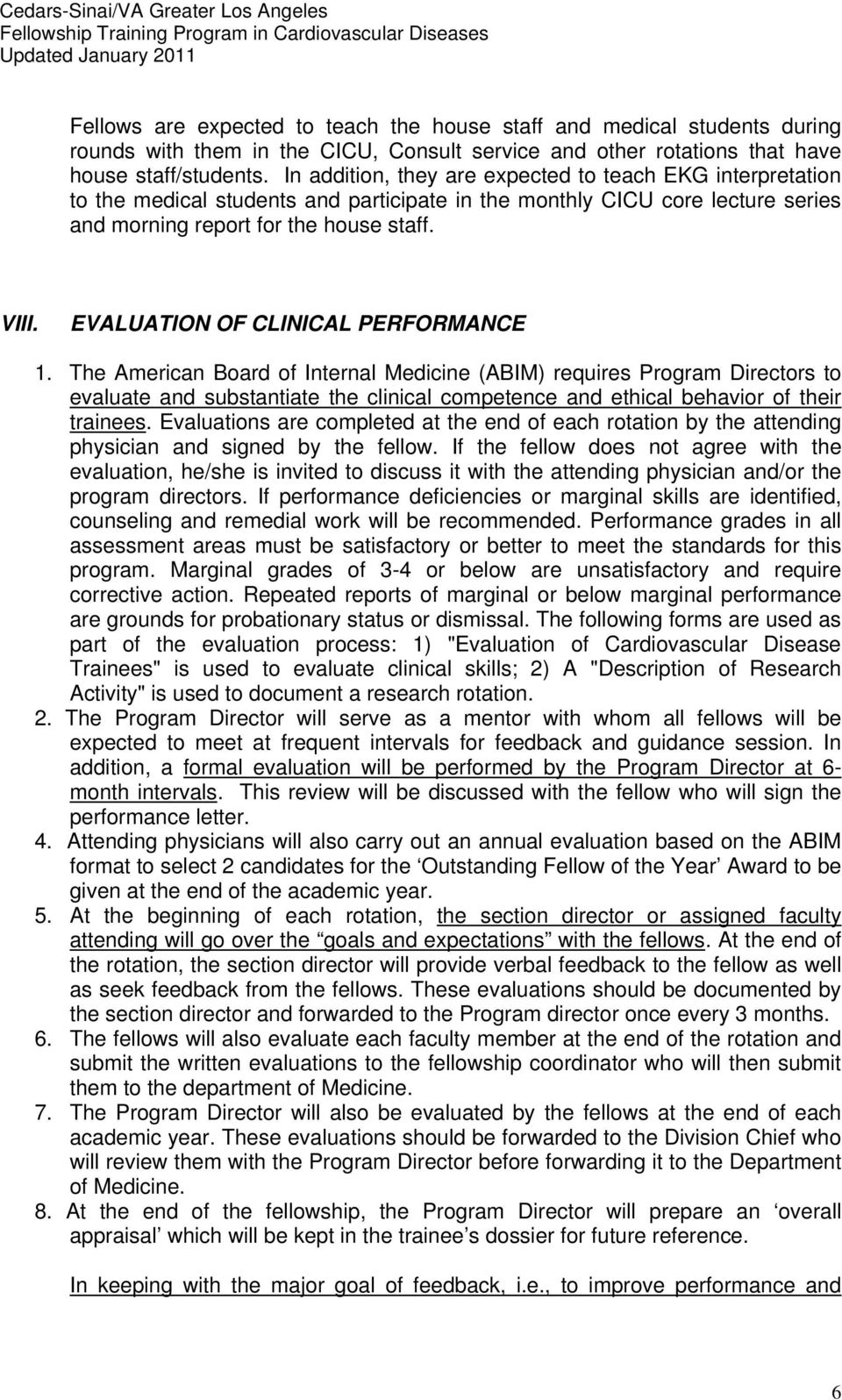 EVALUATION OF CLINICAL PERFORMANCE 1.
