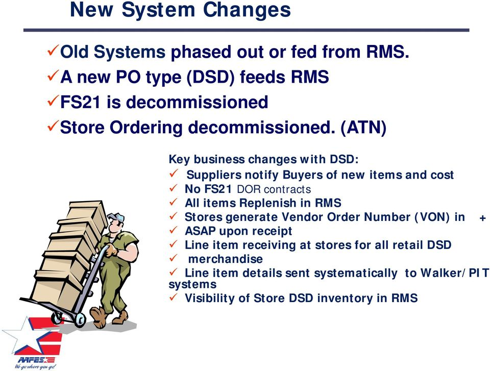 (ATN) Key business changes with DSD: Suppliers notify Buyers of new items and cost No FS21 DOR contracts All items Replenish
