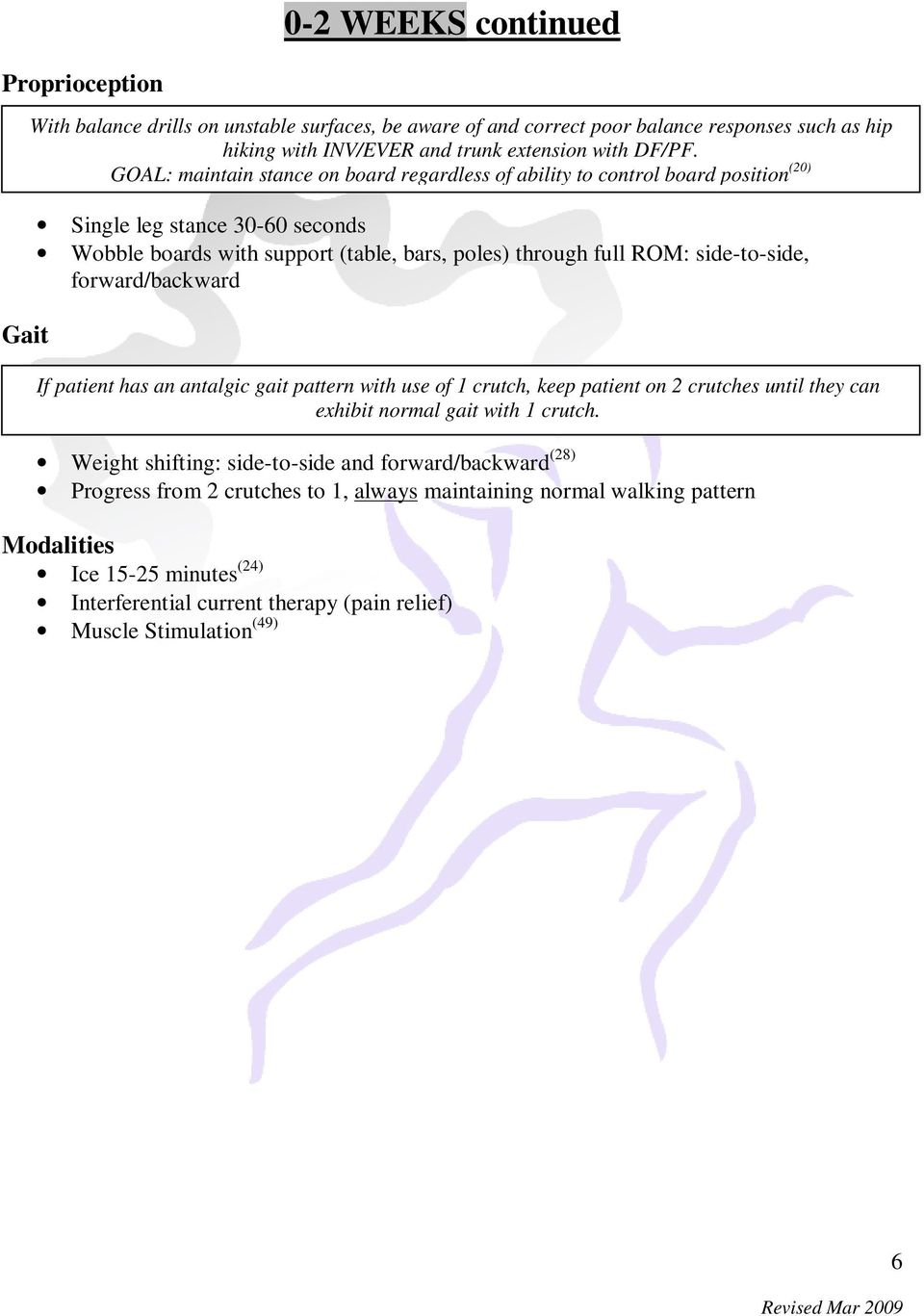 side-to-side, forward/backward If patient has an antalgic gait pattern with use of 1 crutch, keep patient on 2 crutches until they can exhibit normal gait with 1 crutch.