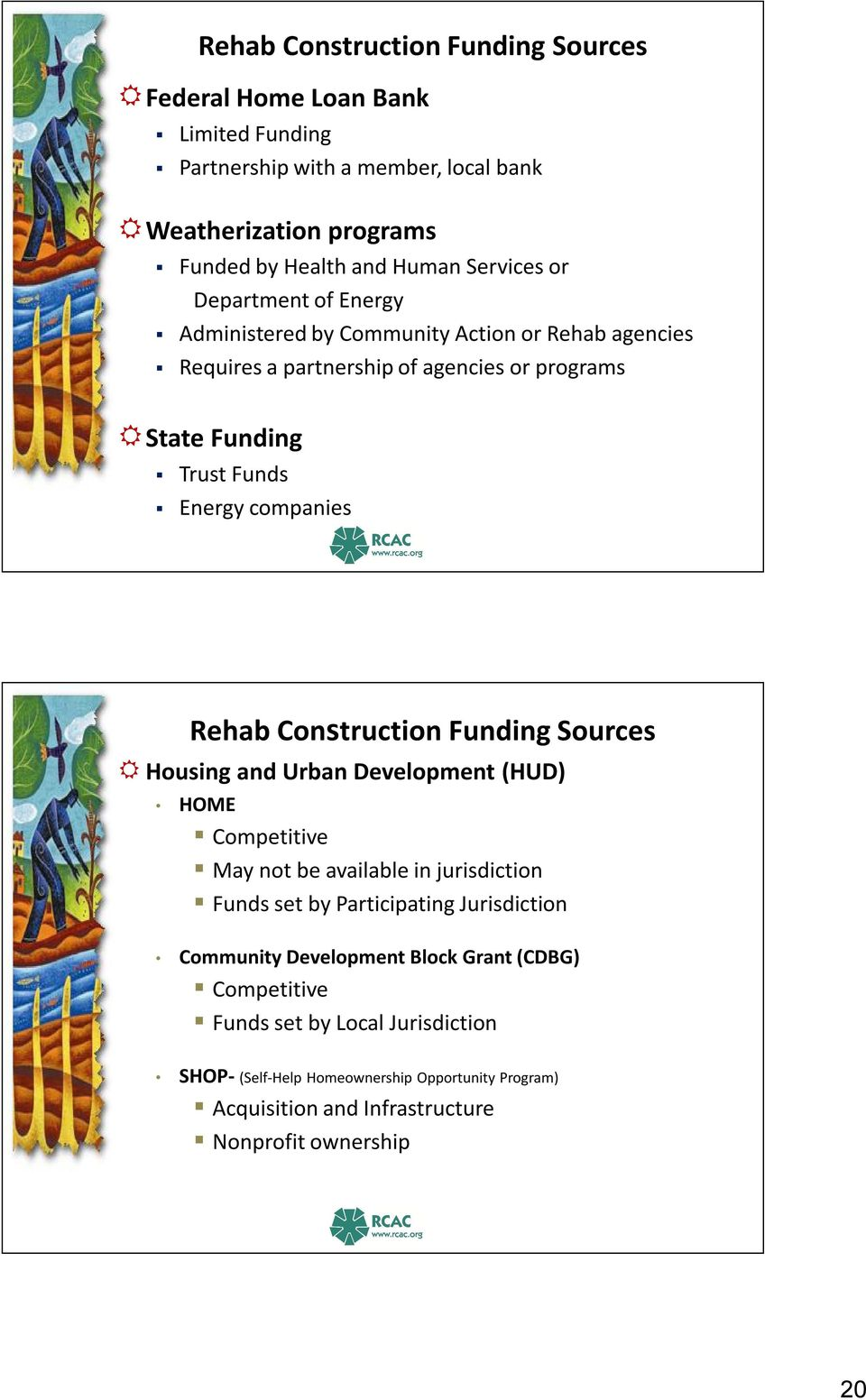 Construction Funding Sources Housing and Urban Development (HUD) HOME Competitive May not be available in jurisdiction Funds set by Participating Jurisdiction Community