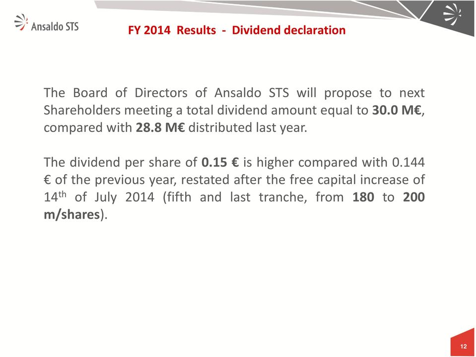 8 M distributed last year. The dividend per share of 0.15 is higher compared with 0.