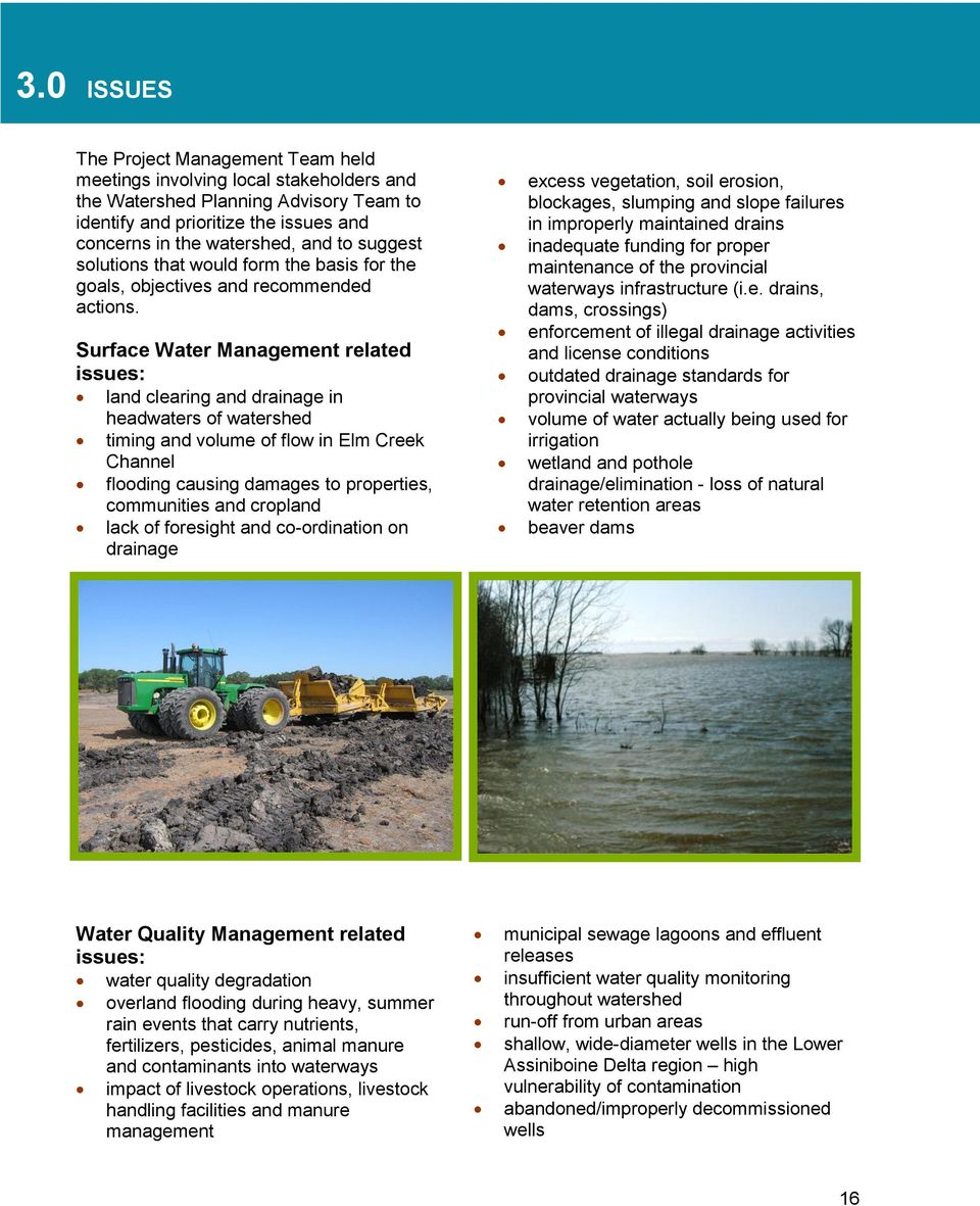 Surface Water Management related issues: land clearing and drainage in headwaters of watershed timing and volume of flow in Elm Creek Channel flooding causing damages to properties, communities and