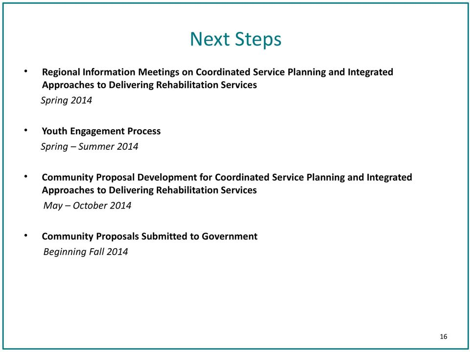 Community Proposal Development for Coordinated Service Planning and Integrated Approaches to