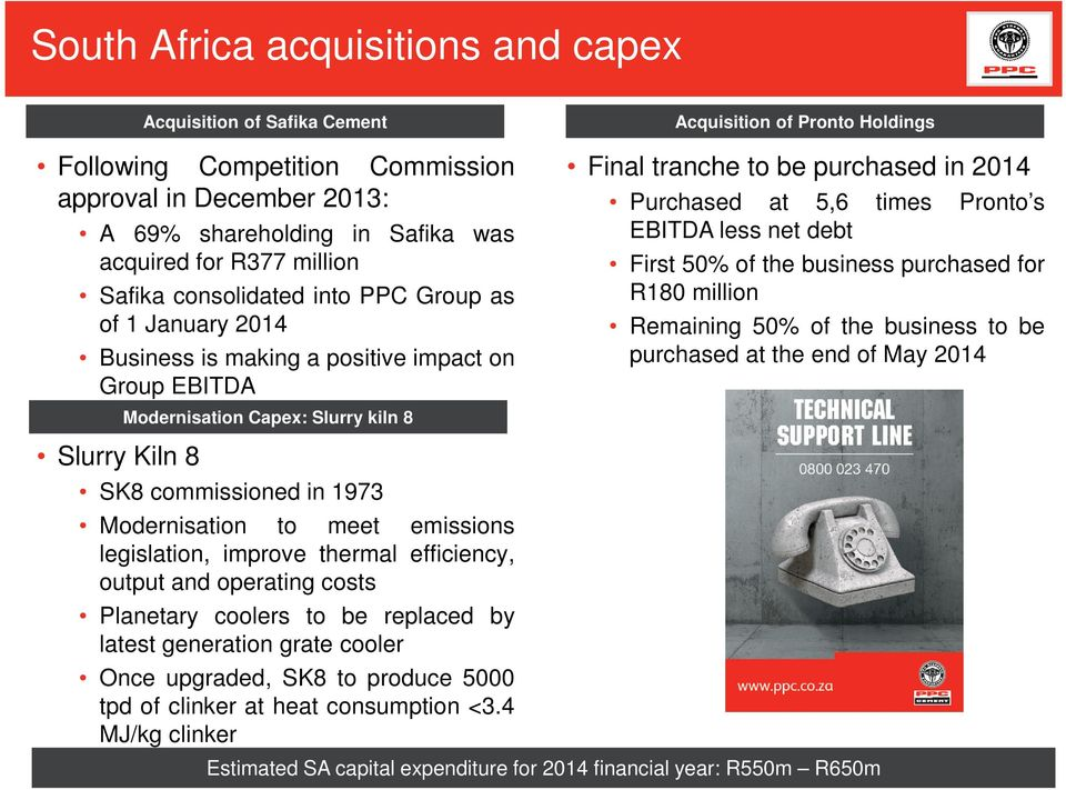 in 2014 Purchased at 5,6 times Pronto s EBITDA less net debt First 50% of the business purchased for R180 million Remaining 50% of the business to be purchased at the end of May 2014 Slurry Kiln 8