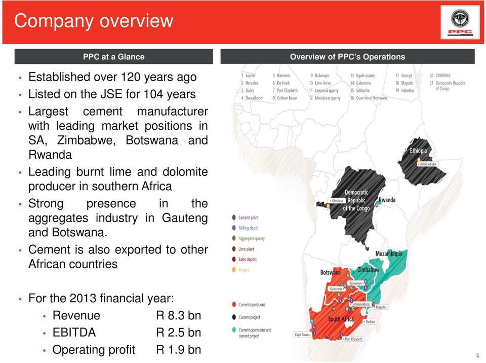 and dolomite producer in southern Africa Strong presence in the aggregates industry in Gauteng and Botswana.