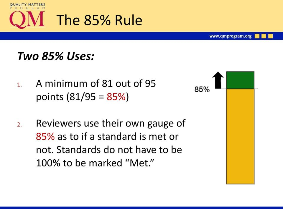 Reviewers use their own gauge of 85% as to if a